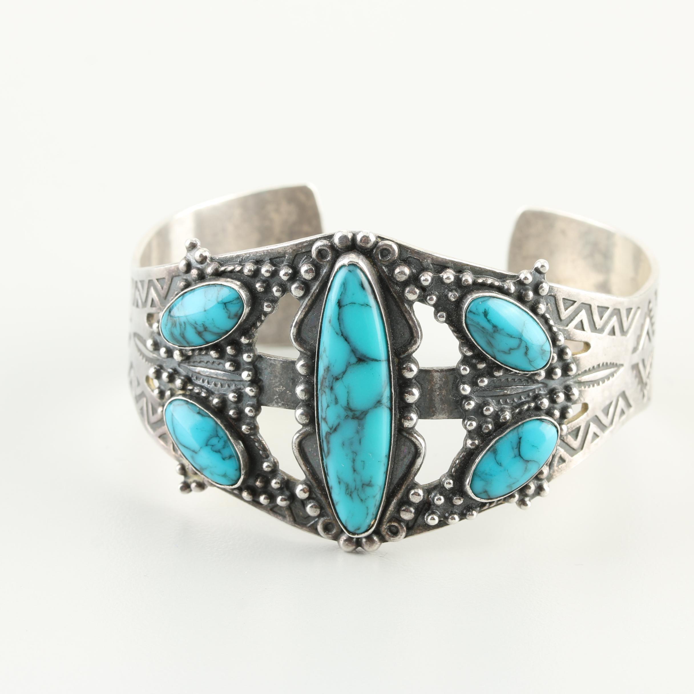 Sterling Silver Howlite Cuff Bracelet