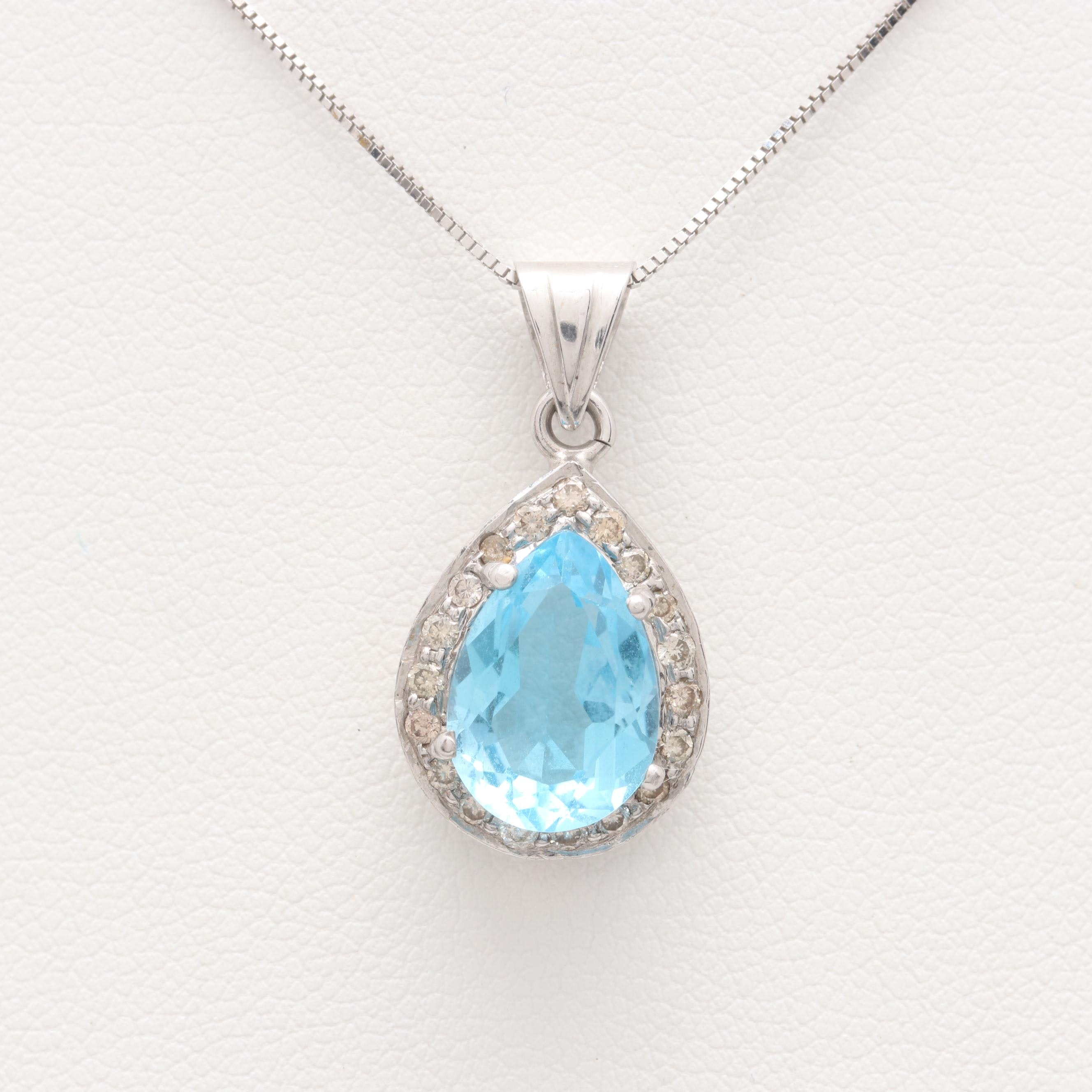 18K White Gold Blue Topaz and Diamond Pendant Necklace