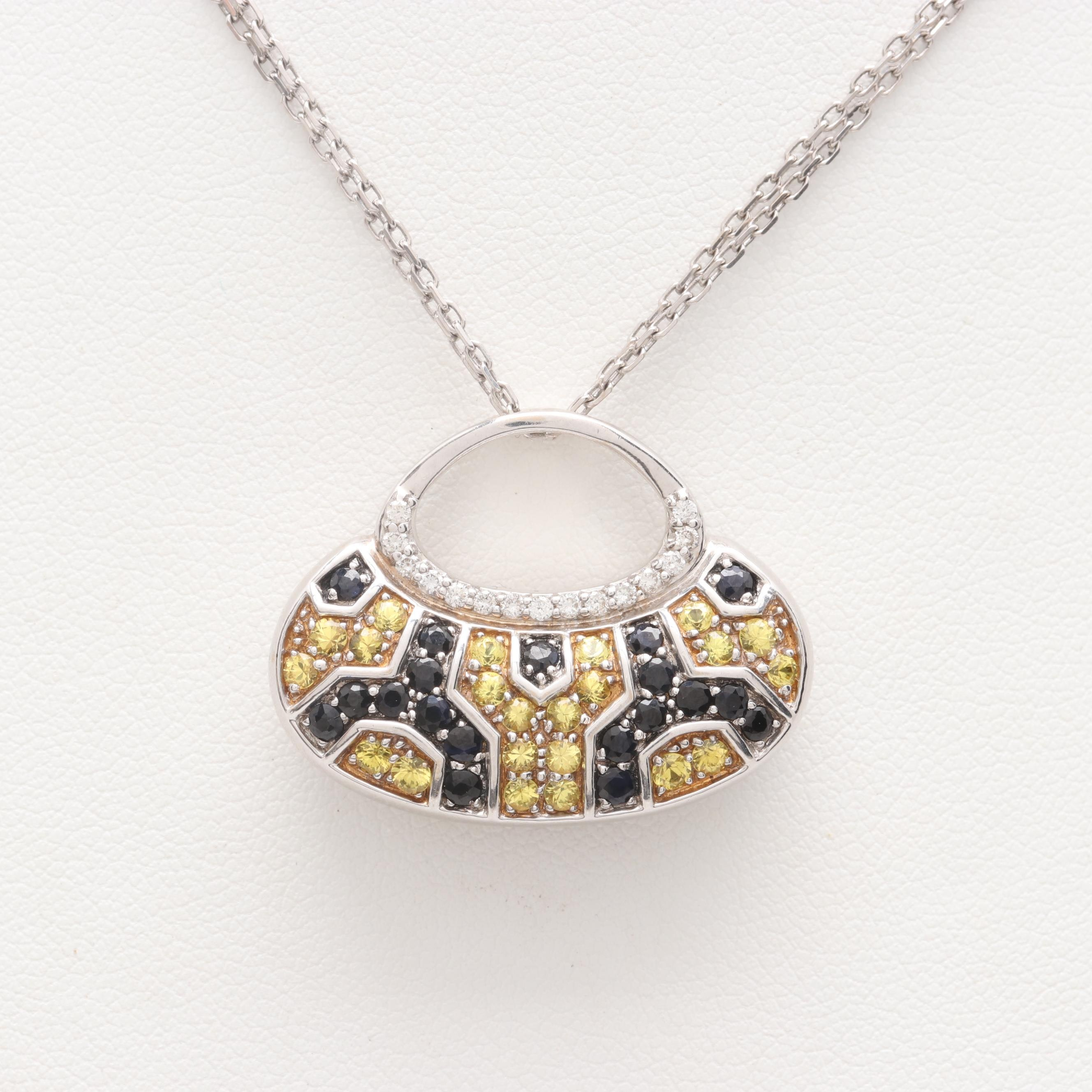 18K White Gold Sapphire and Diamond Handbag Motif Pendant Necklace