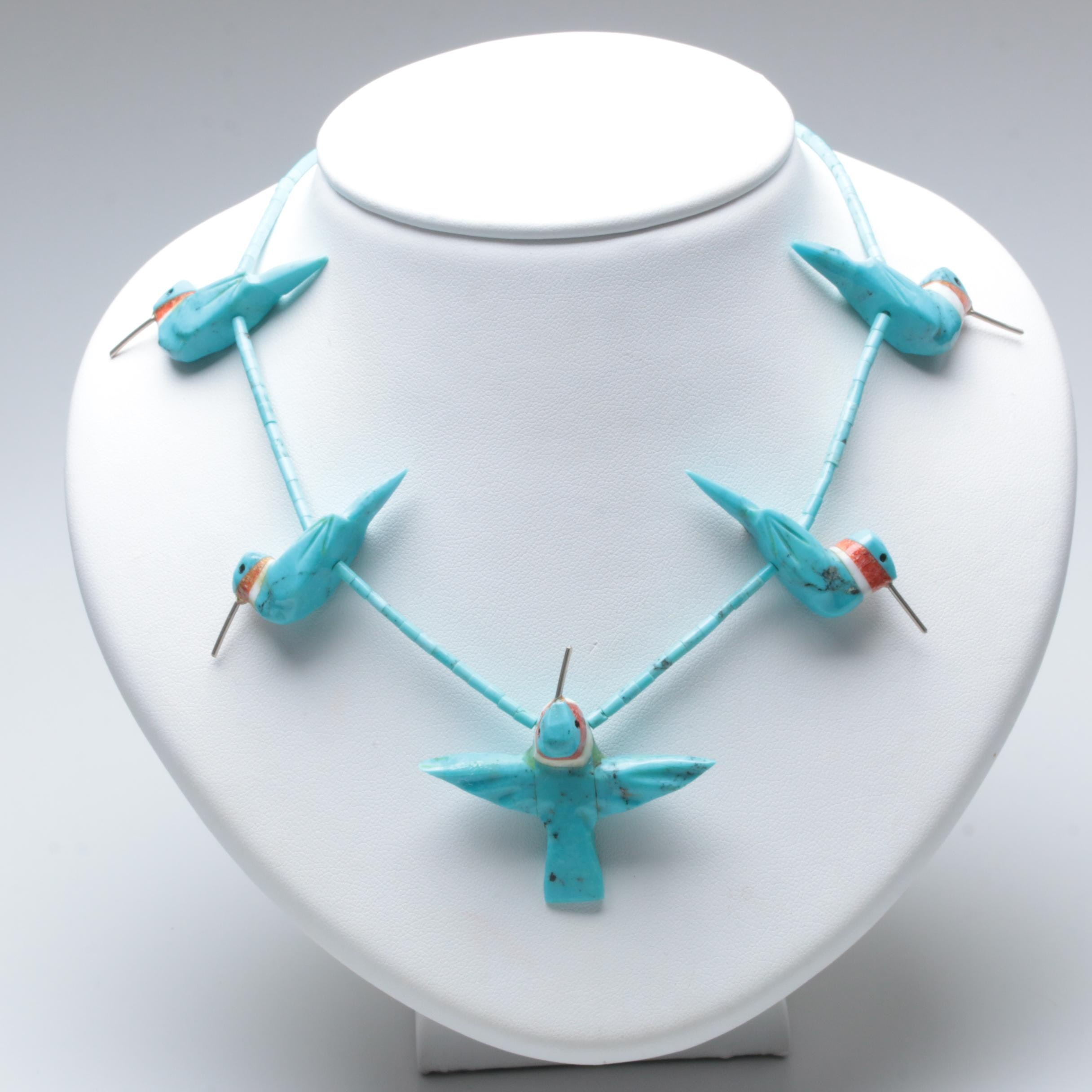 Sterling Silver Turquoise, Coral and Quartz Hummingbird Fetish Necklace