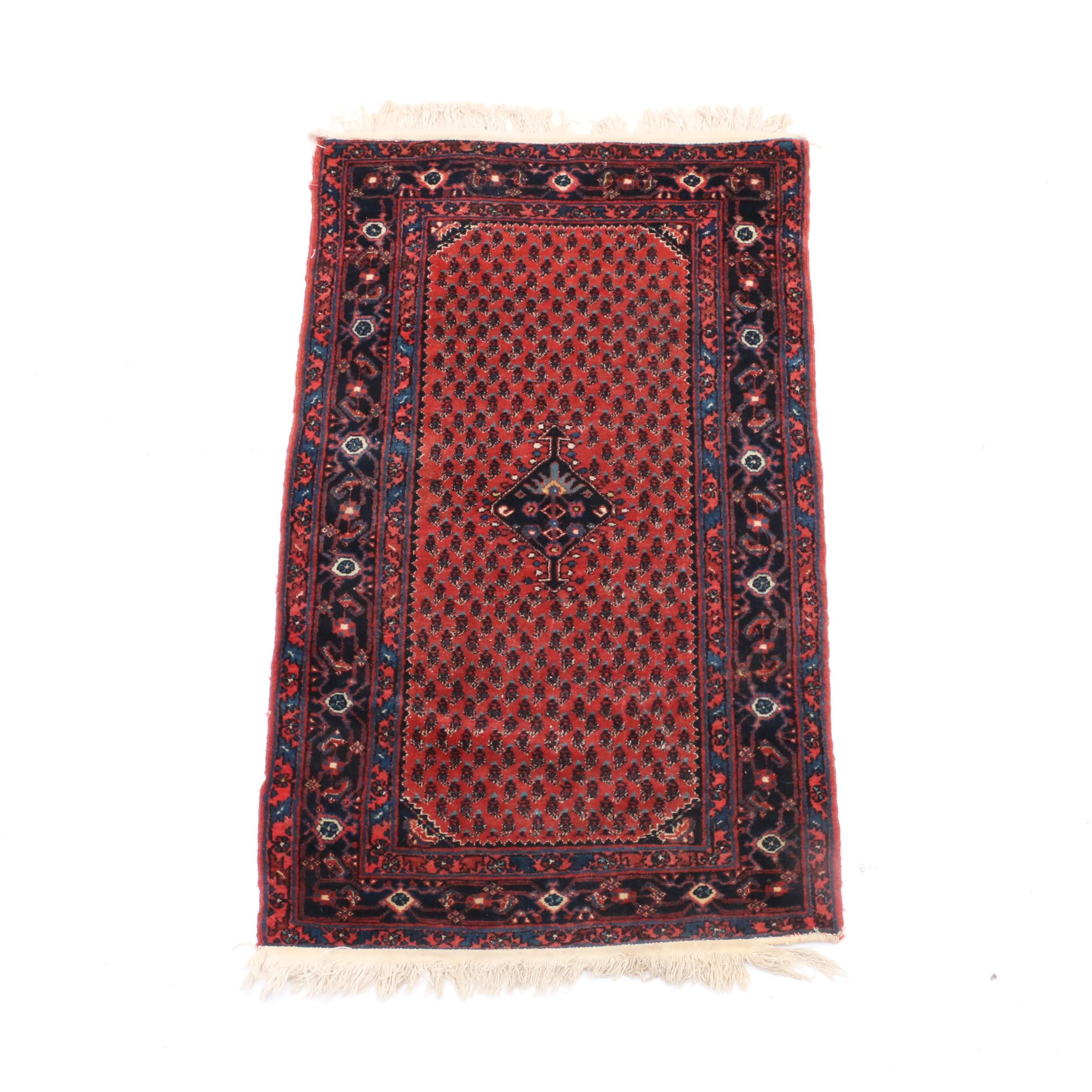 Hand-Knotted Kurdish Senneh Accent Rug