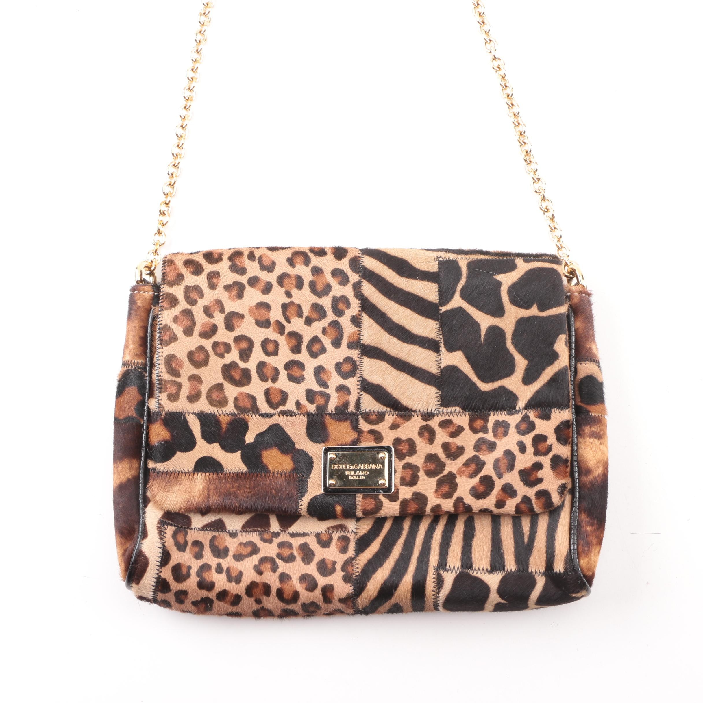 Dolce & Gabbana Patchwork Animal Print Calf Hair Crossbody