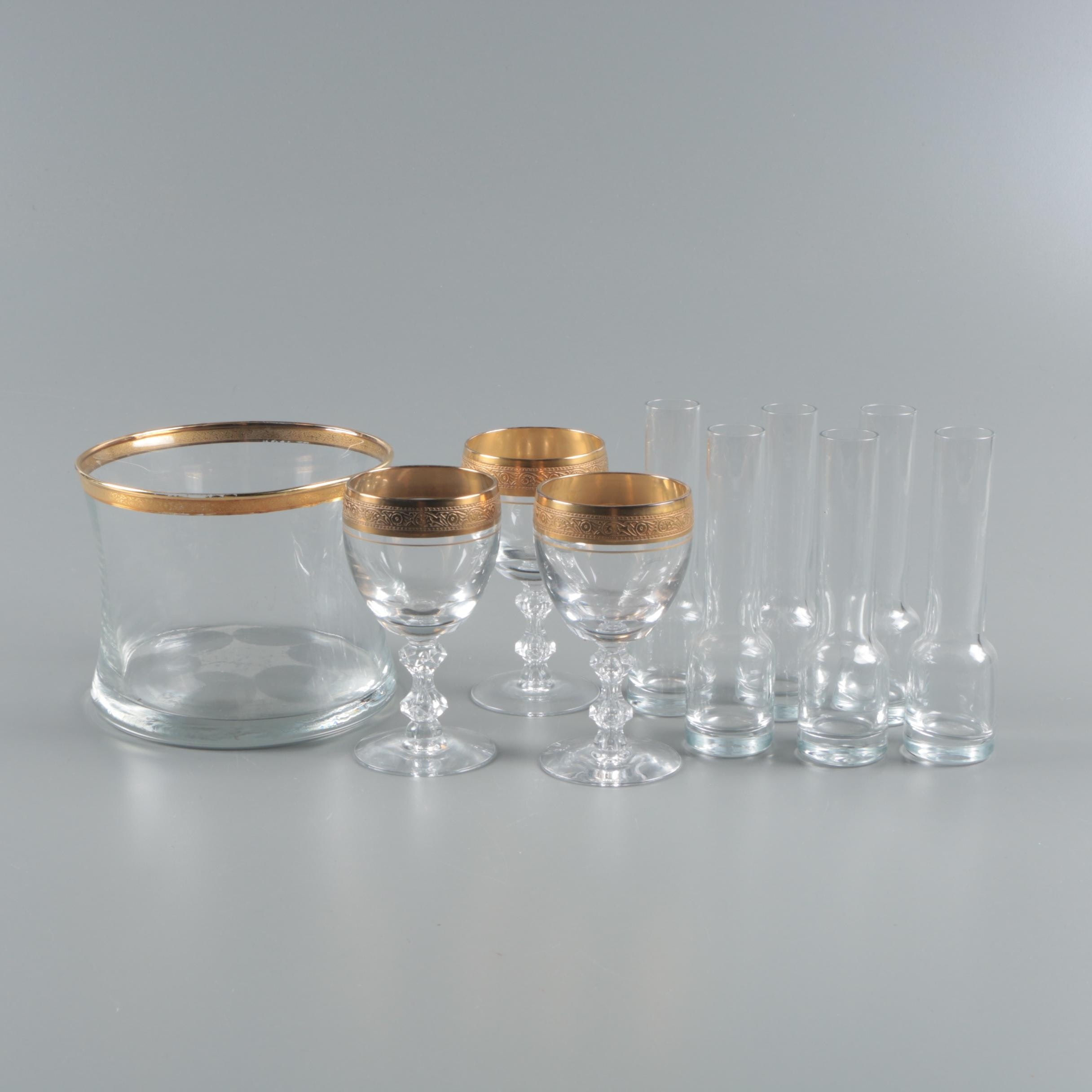 "Vintage Tiffin ""Minton"" Cordial Glasses with Vodka Shooters and Chiller"