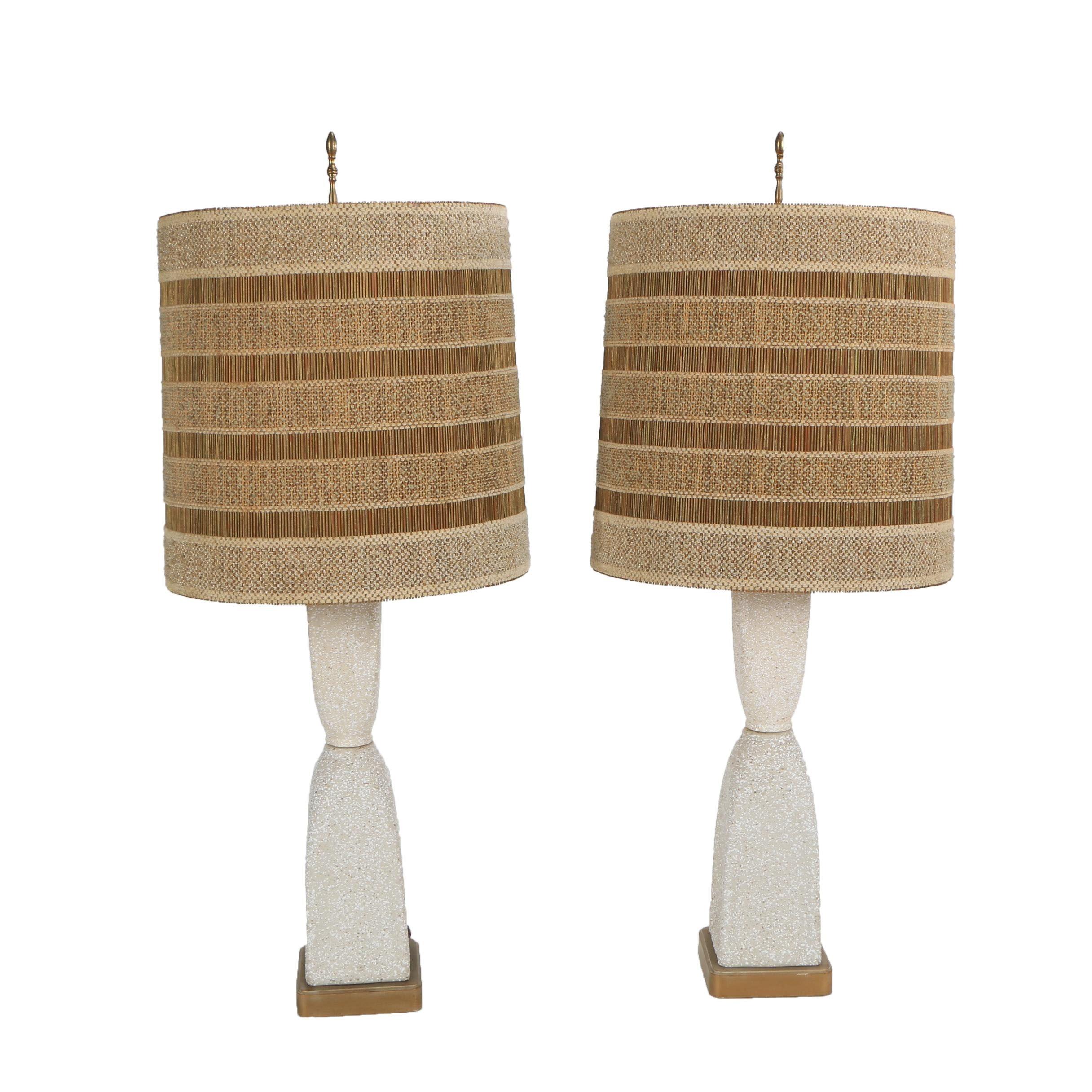 Mid Century Ceramic Table Lamps with Maria Kipp Shades