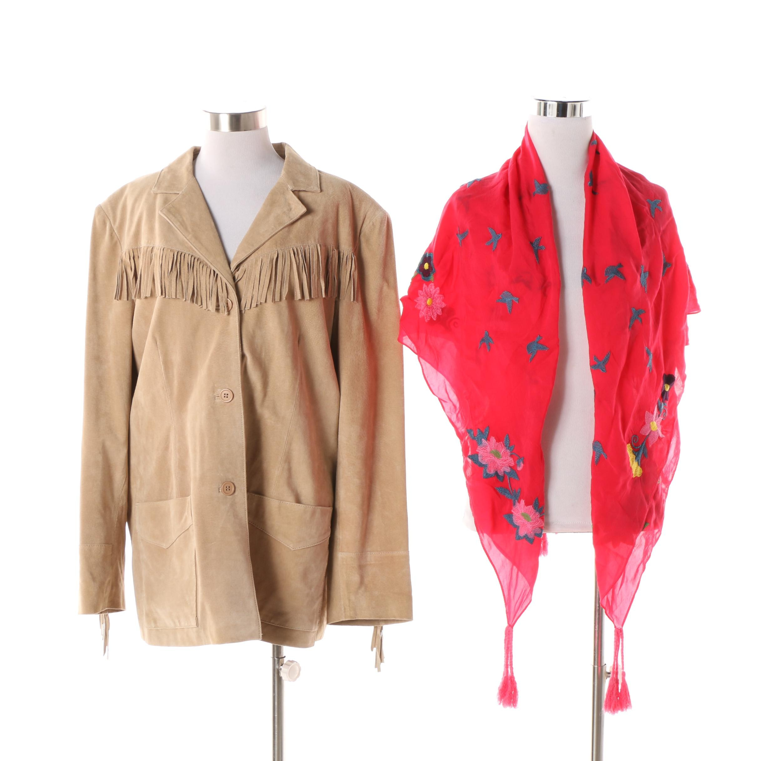 Women's Atelier by B. Thomas Suede Jacket with Embroidered Scarf