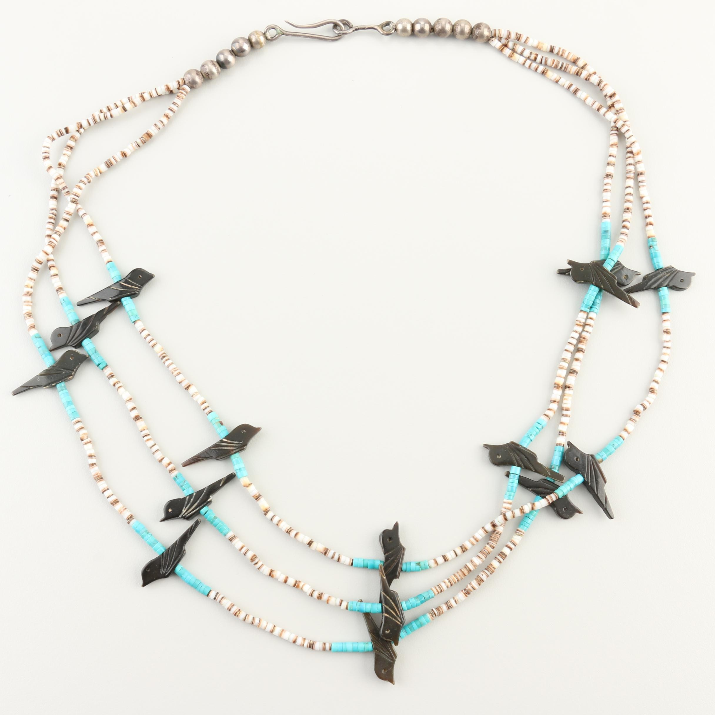 Southwestern Style Sterling Silver Horn, Turquoise, and Shell Fetish Necklace