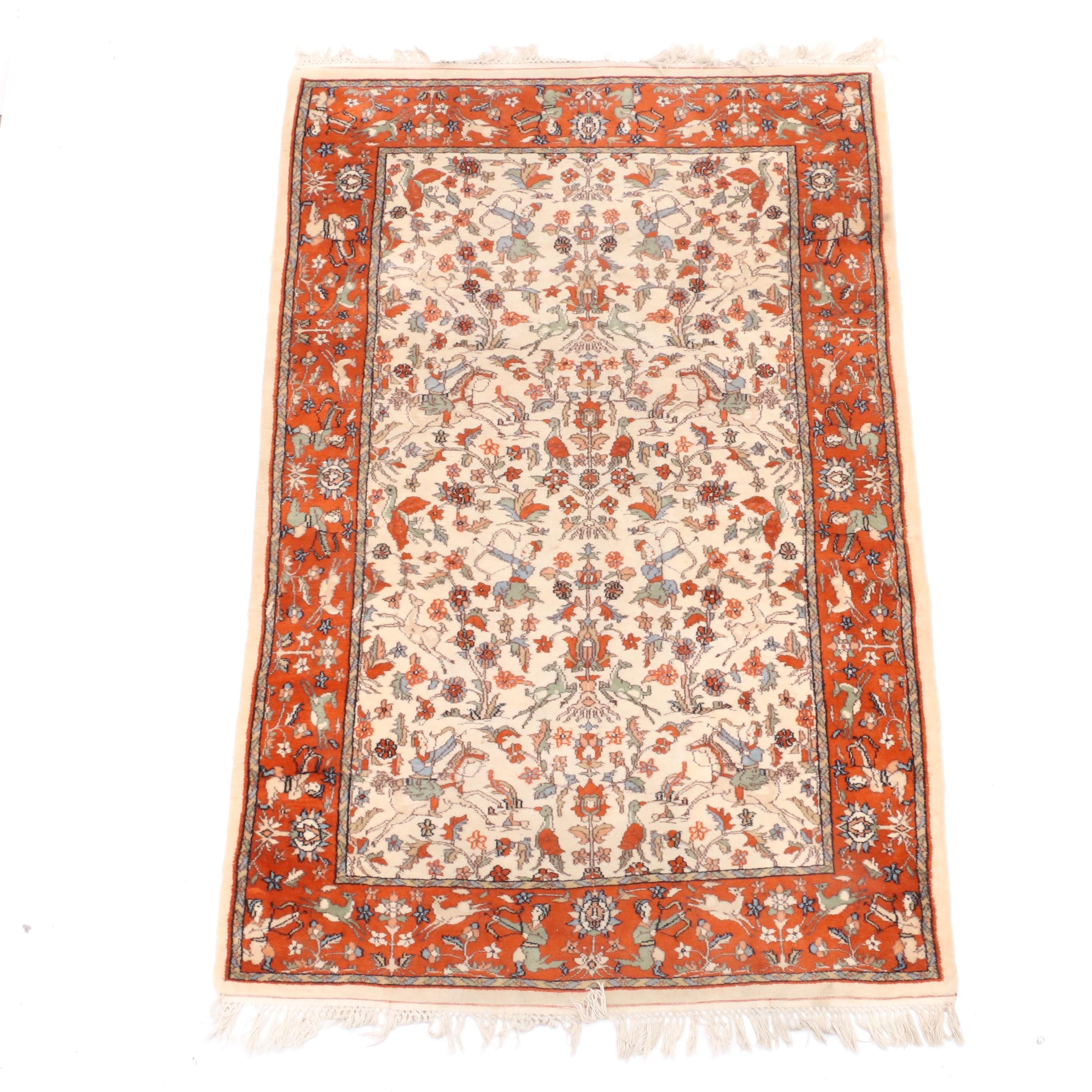Hand-Knotted Indo-Persian Hunting Area Rug