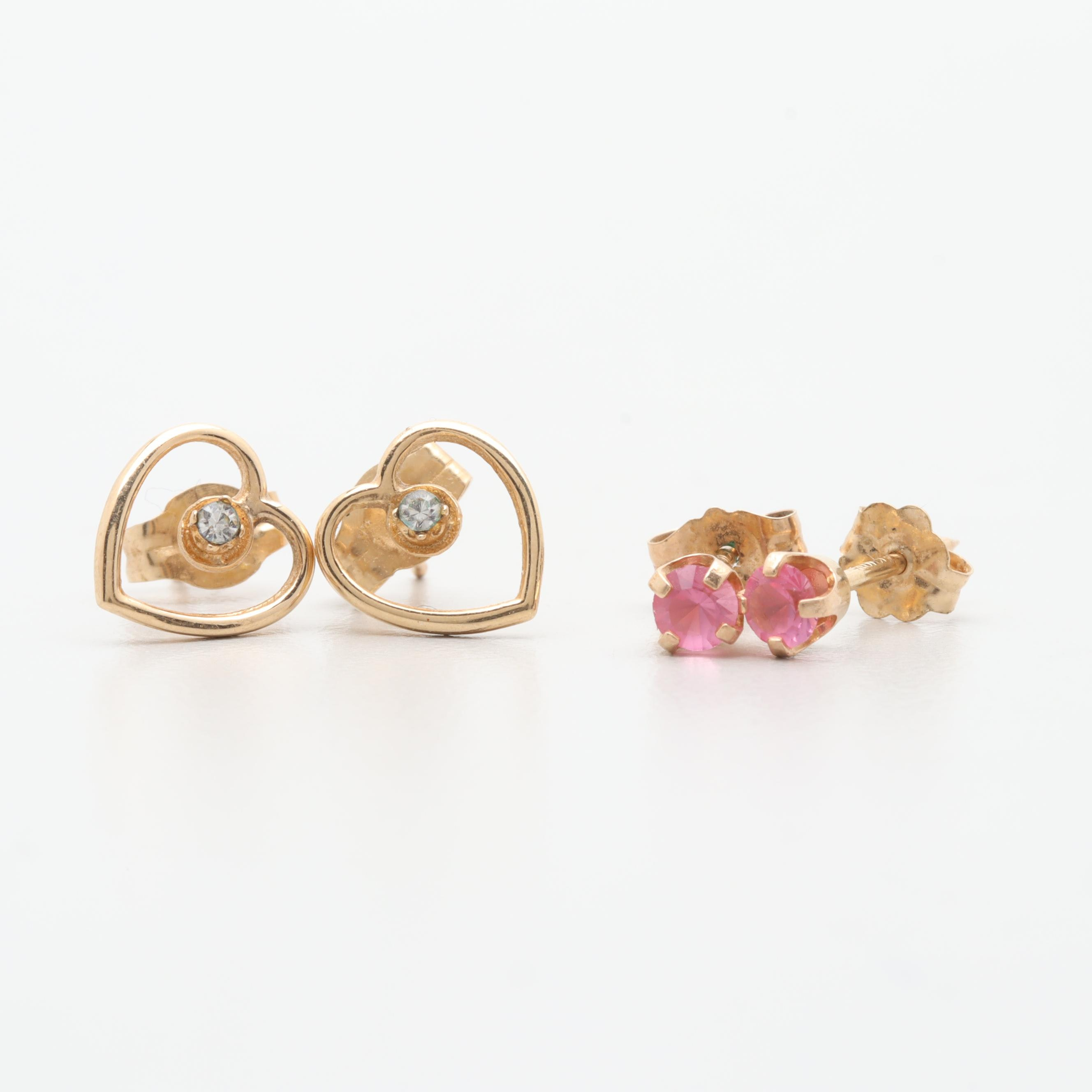 14K Yellow Gold Glass Earrings