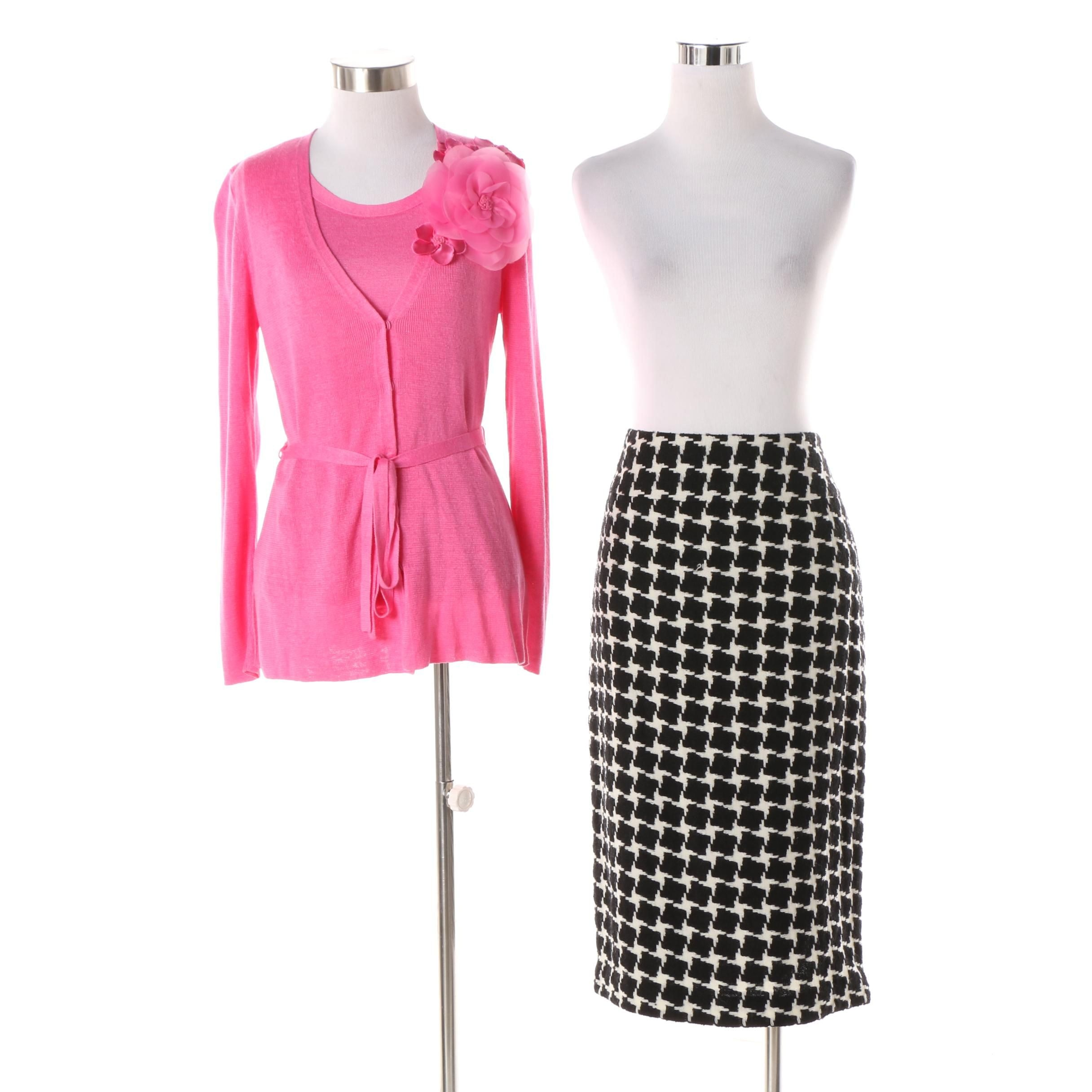 Women's Lafayette 148 New York Pink Sweater Set and Houndstooth Skirt