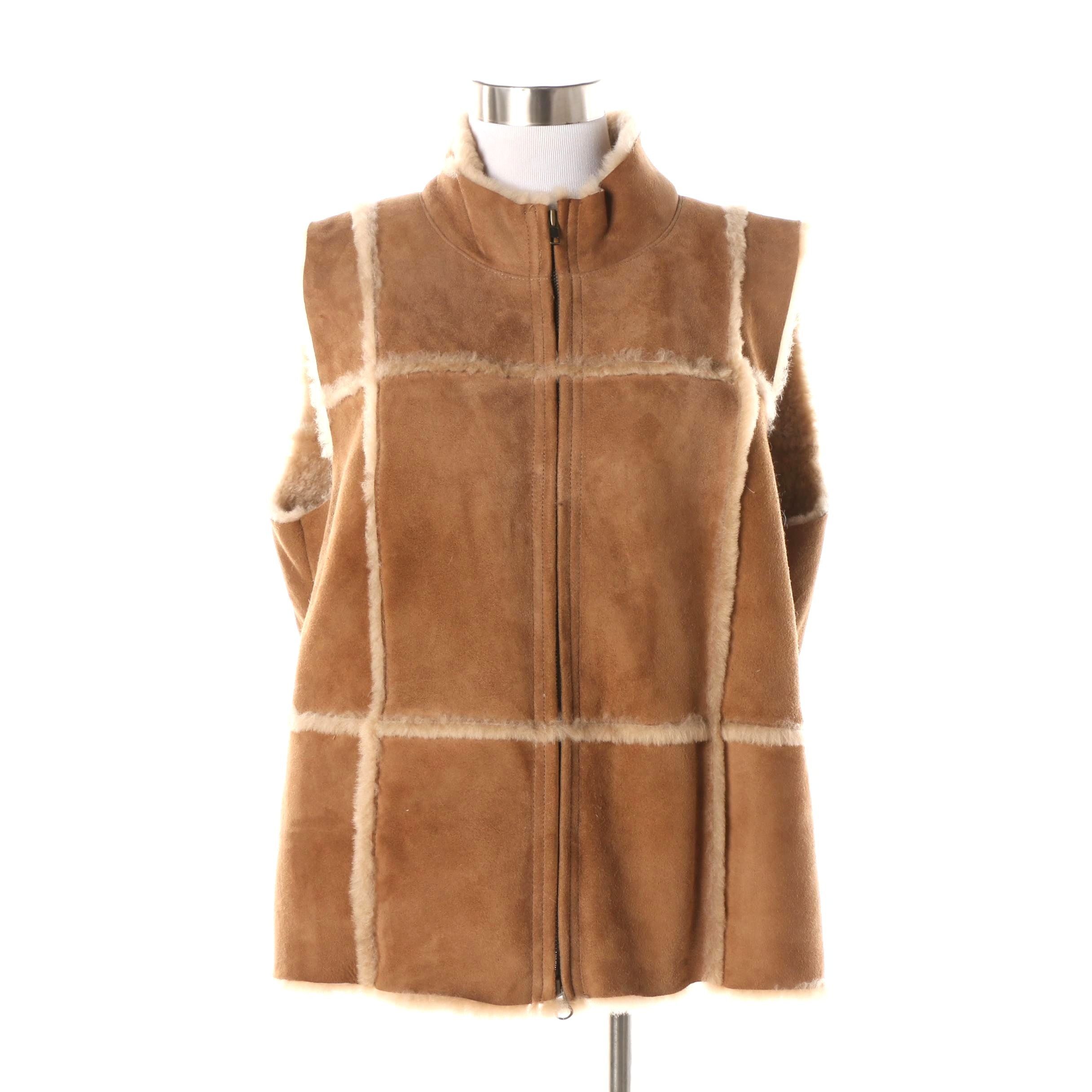 Women's Isabella Bird Tan Suede and Shearling Vest