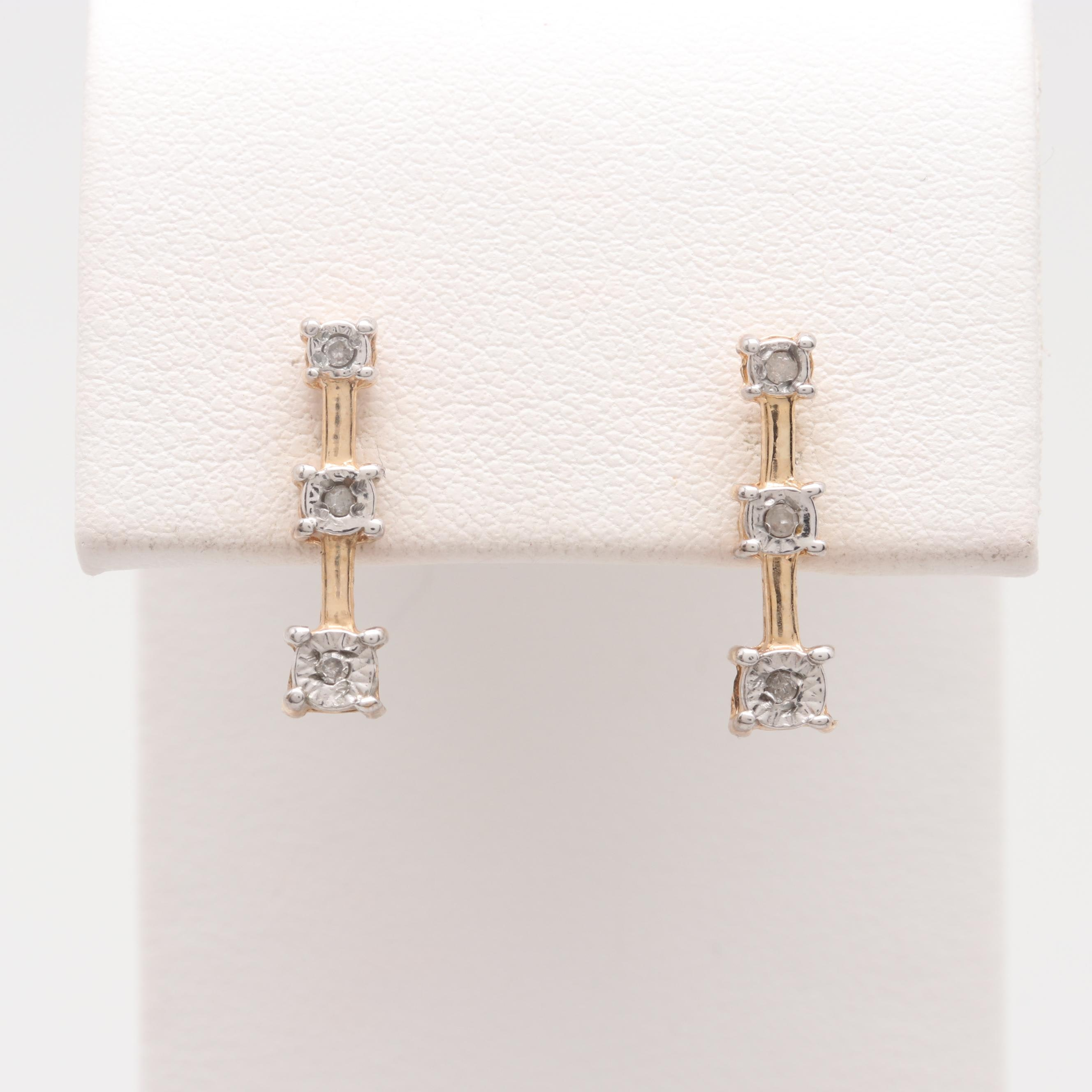 10K Yellow Gold Diamond Three-Stone Earrings