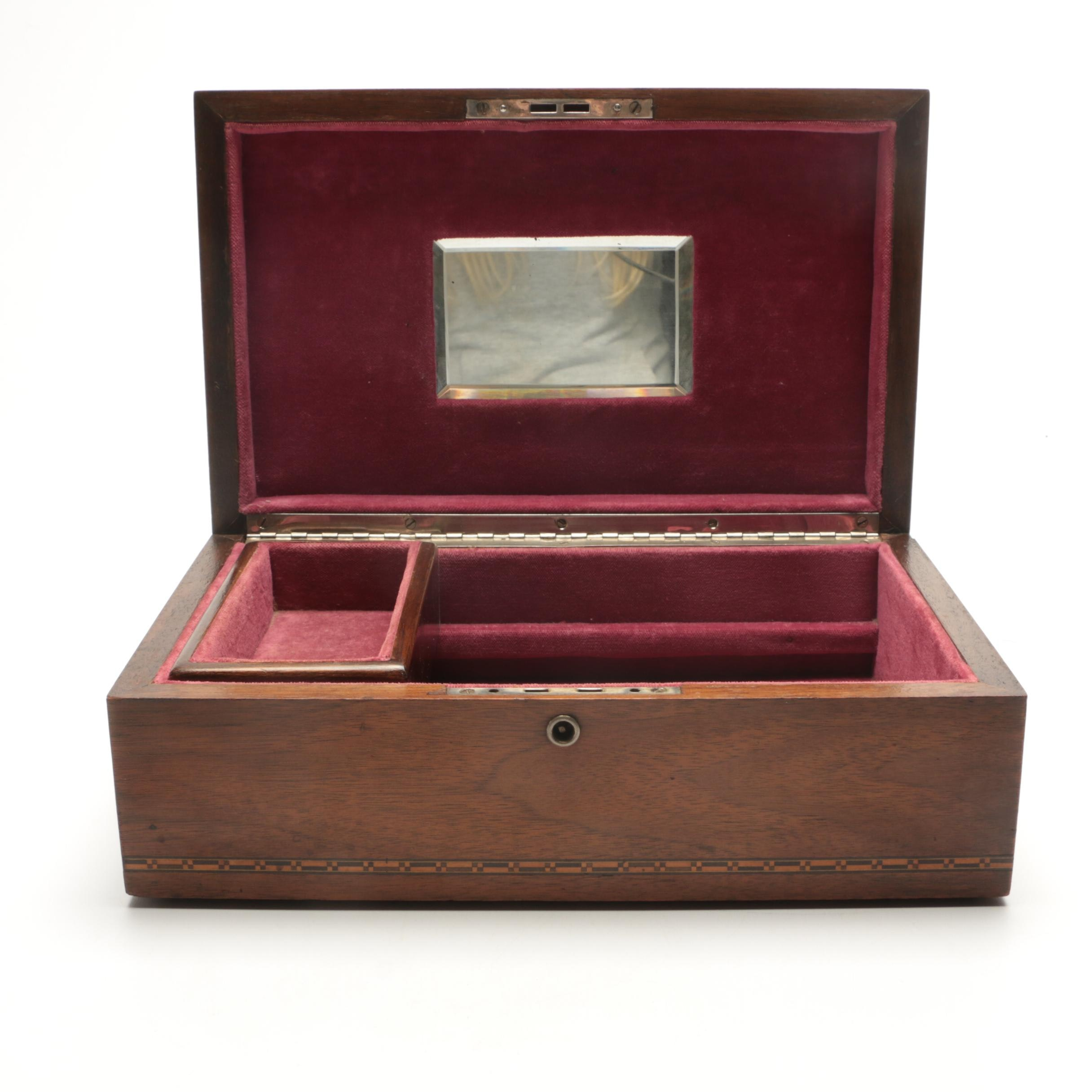 Inlaid Wooden Jewelry Box with Floral Motif