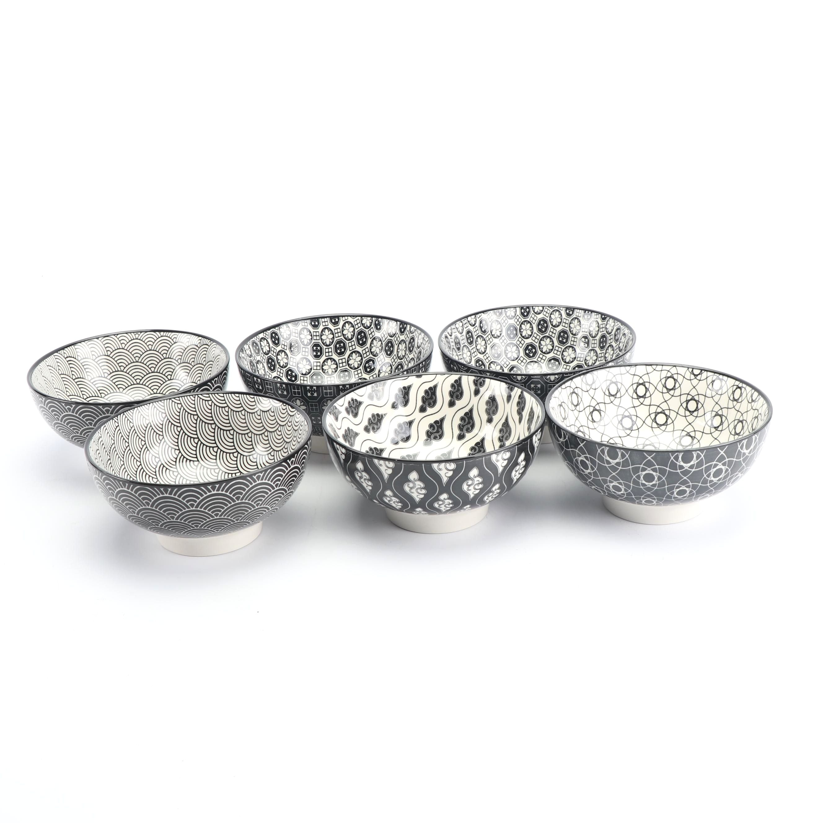 Black and White Ceramic Patterned Bowls