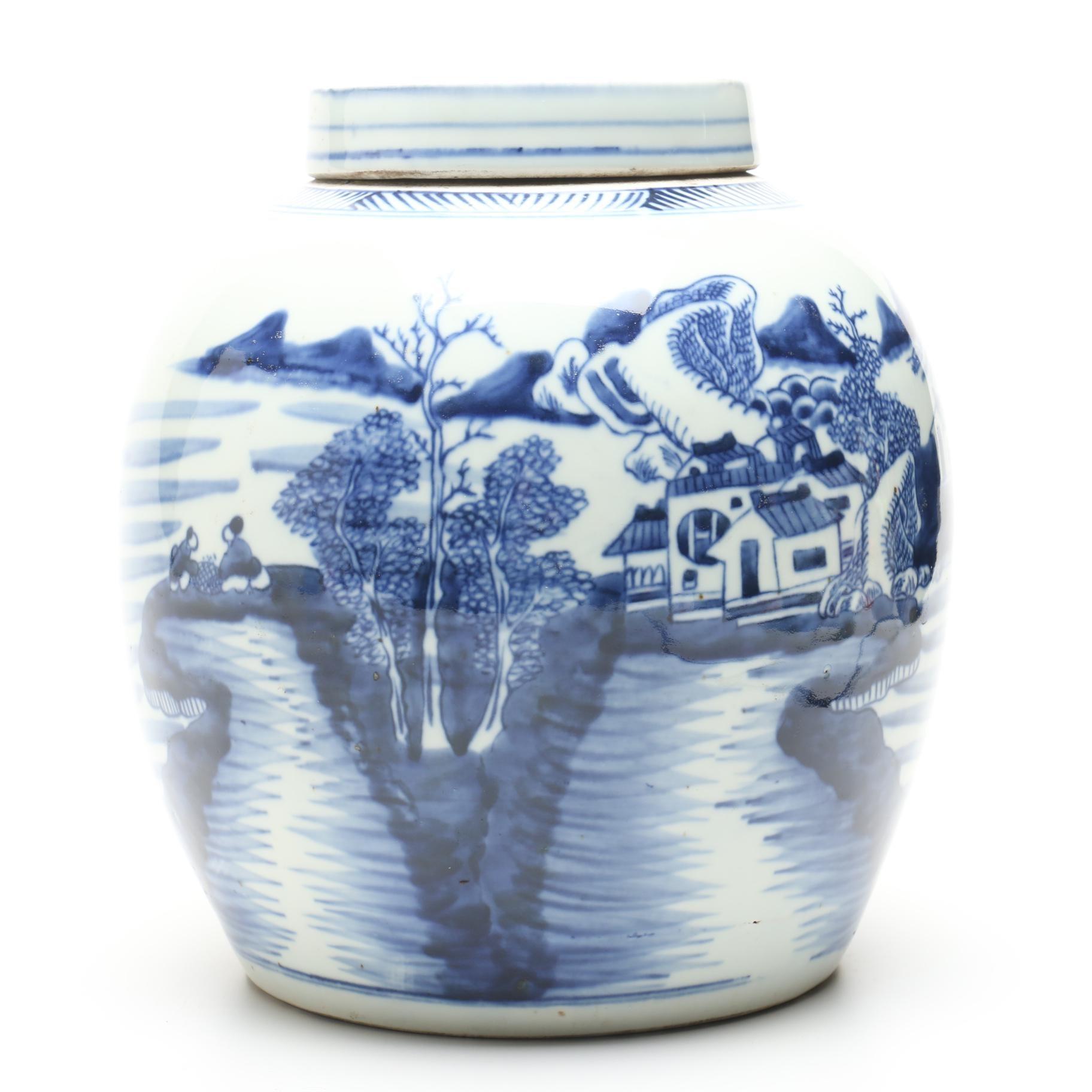 Chinese Blue and White Ceramic Ginger Jar