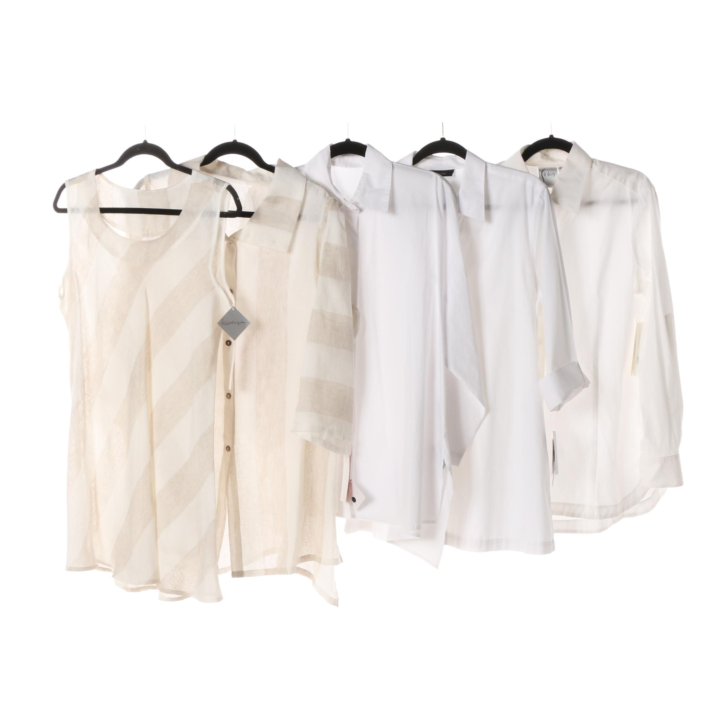 KIYO Striped Set with P. Taylor, Finley and Foxcroft White Blouses