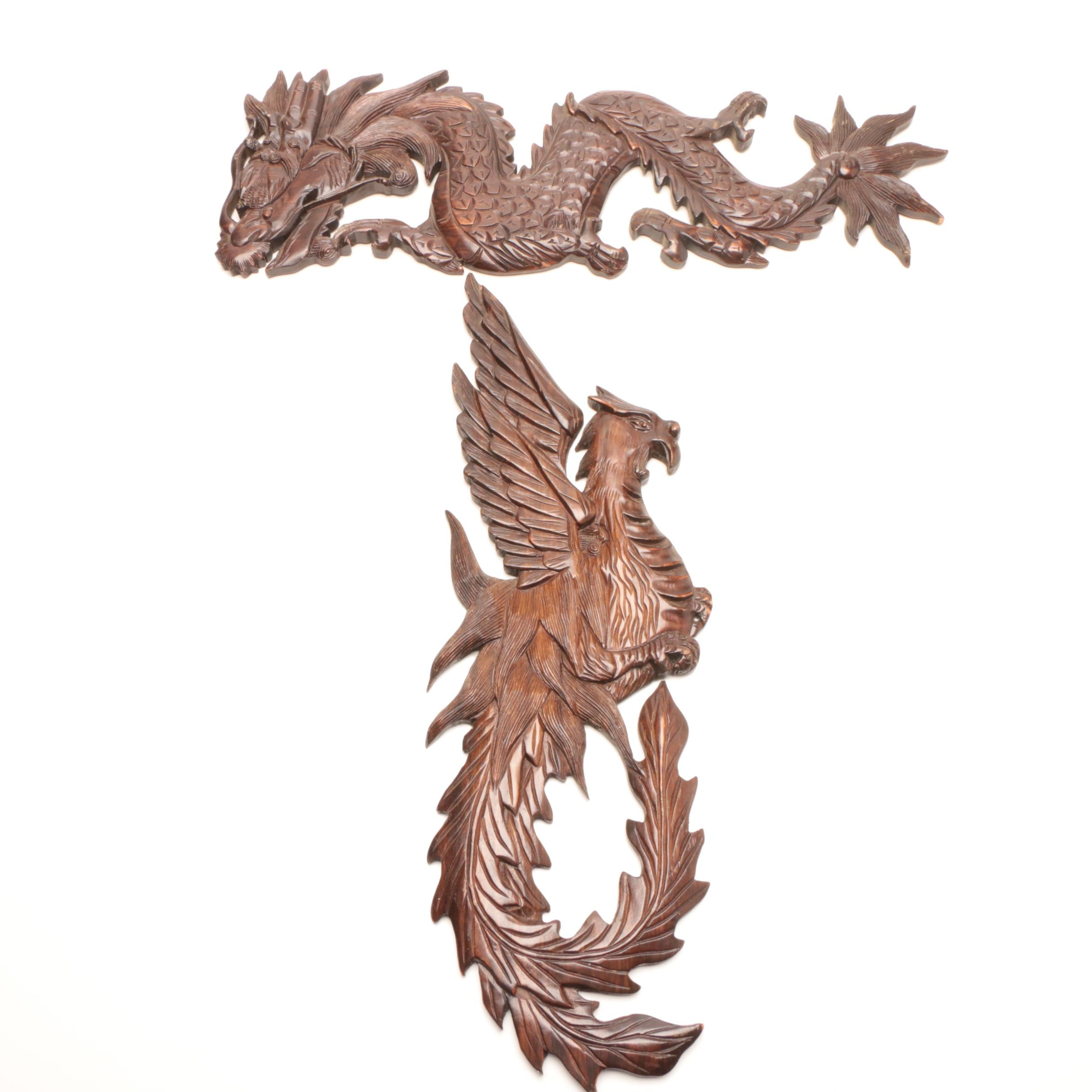 Hand Carved Chinese Style Bird and Dragon Wooden Wall Hangings
