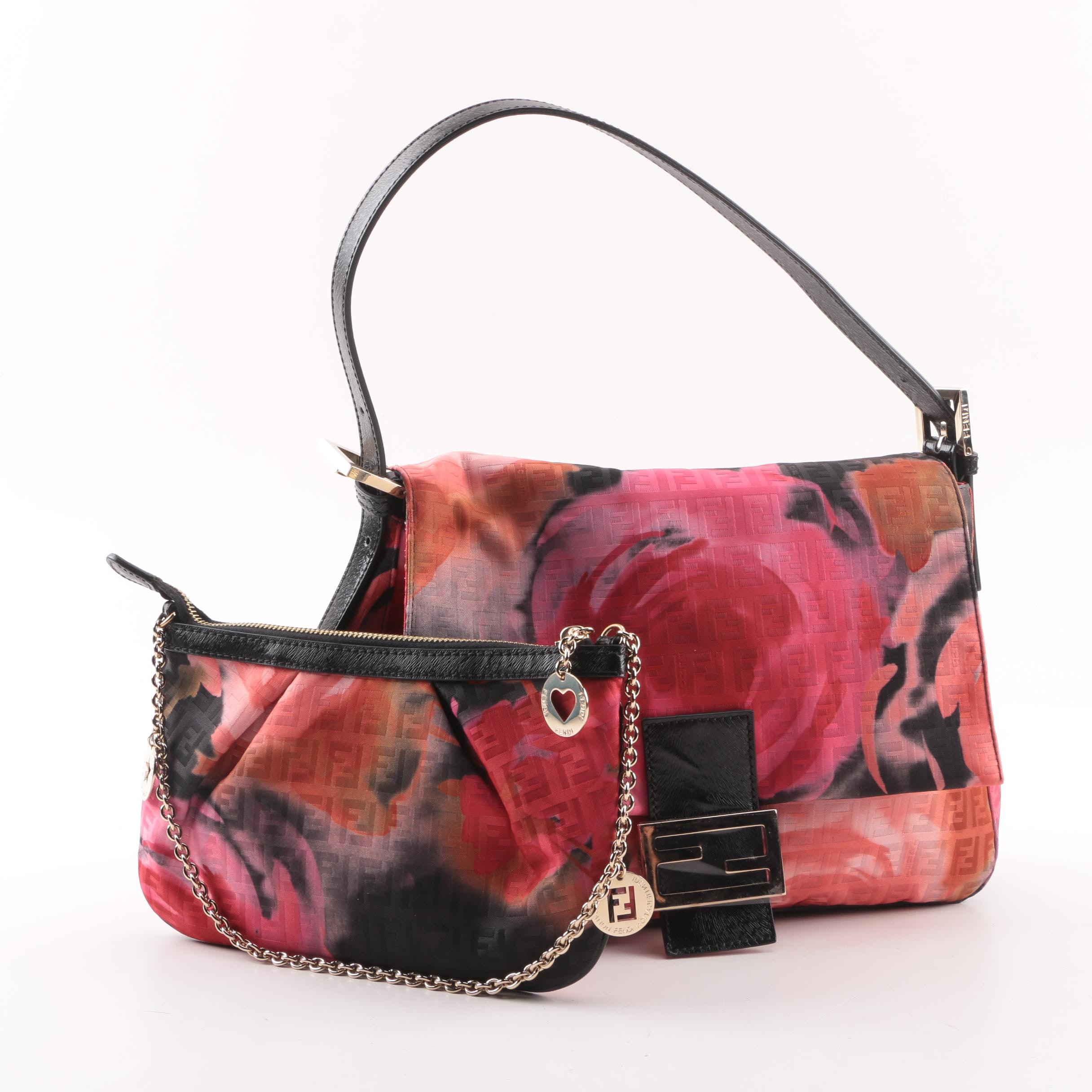 Fendi Zucca Floral Print Mamma Bag with Matching Pouch