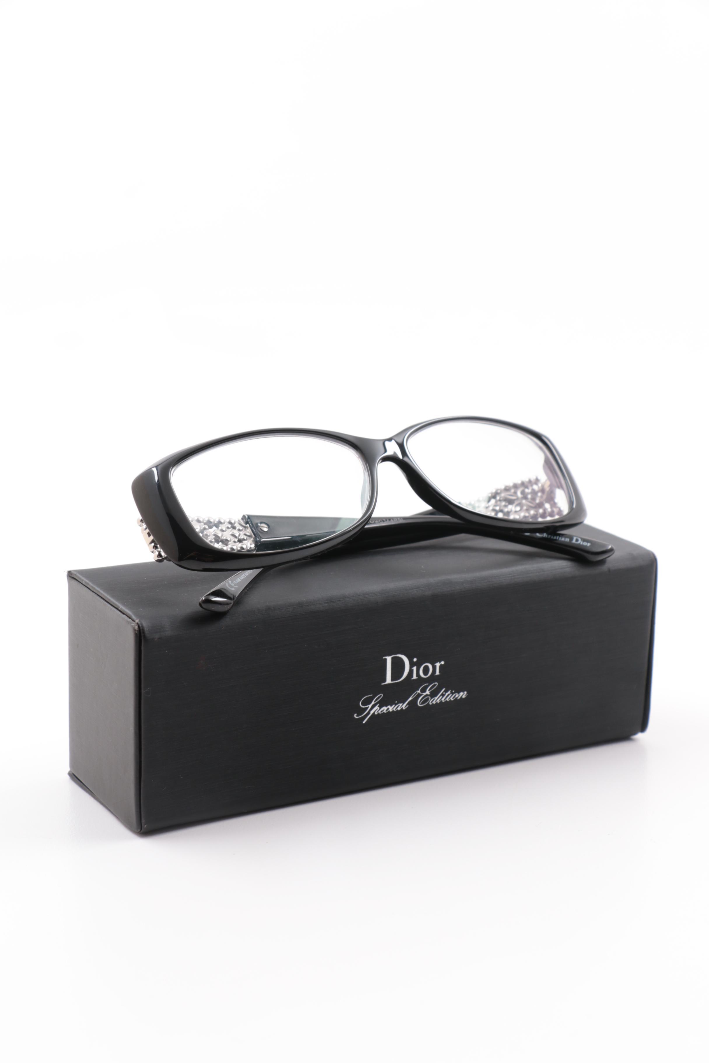 66bb6fae102b Christian dior special edition black frame and rhinestone reading glasses  JPG 880x880 Christian dior eyeglasses with