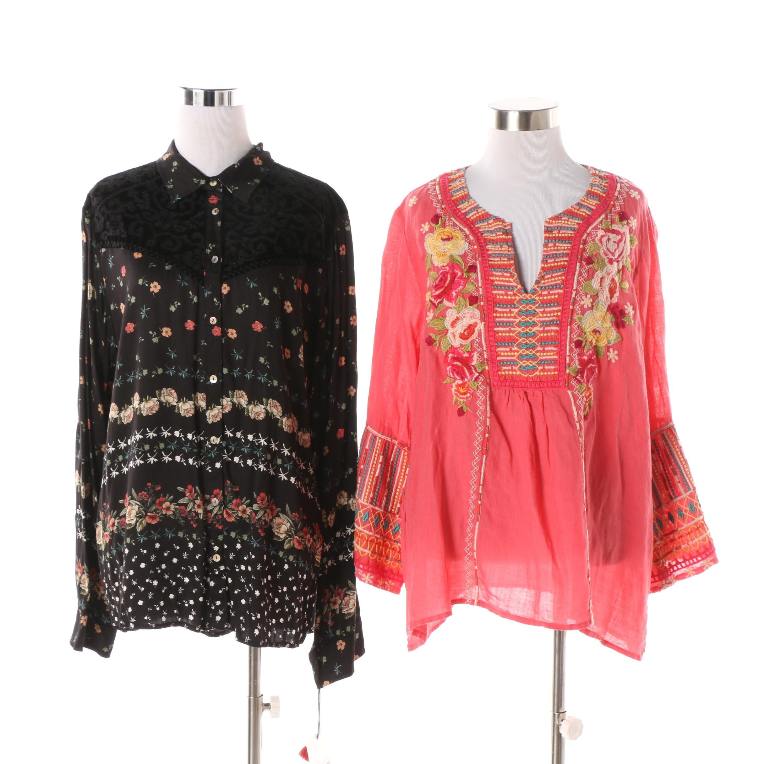 Johnny Was Workshop Velvet Mix and Tilly Flare Boho Blouses