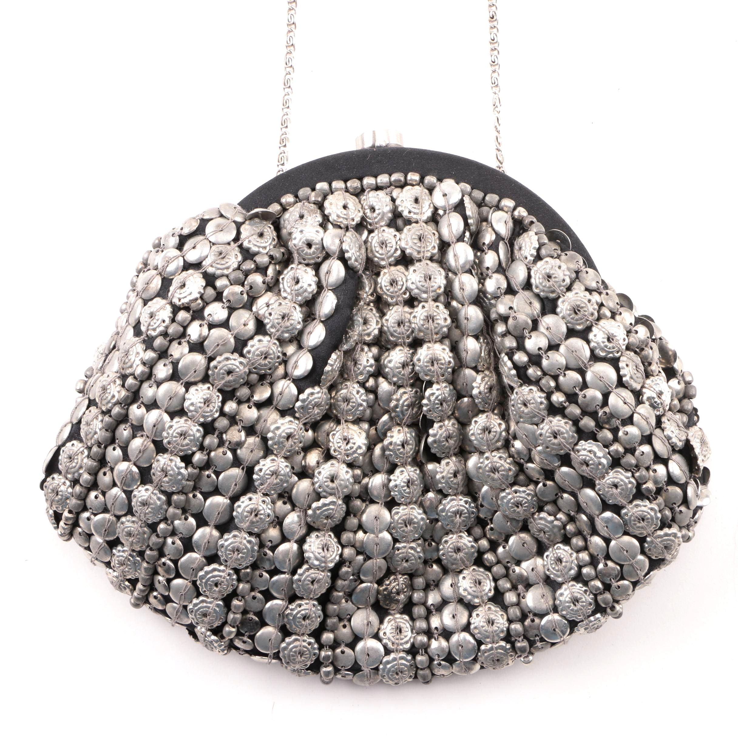 Moyna Metal Beaded Evening Bag with Chain Link Strap