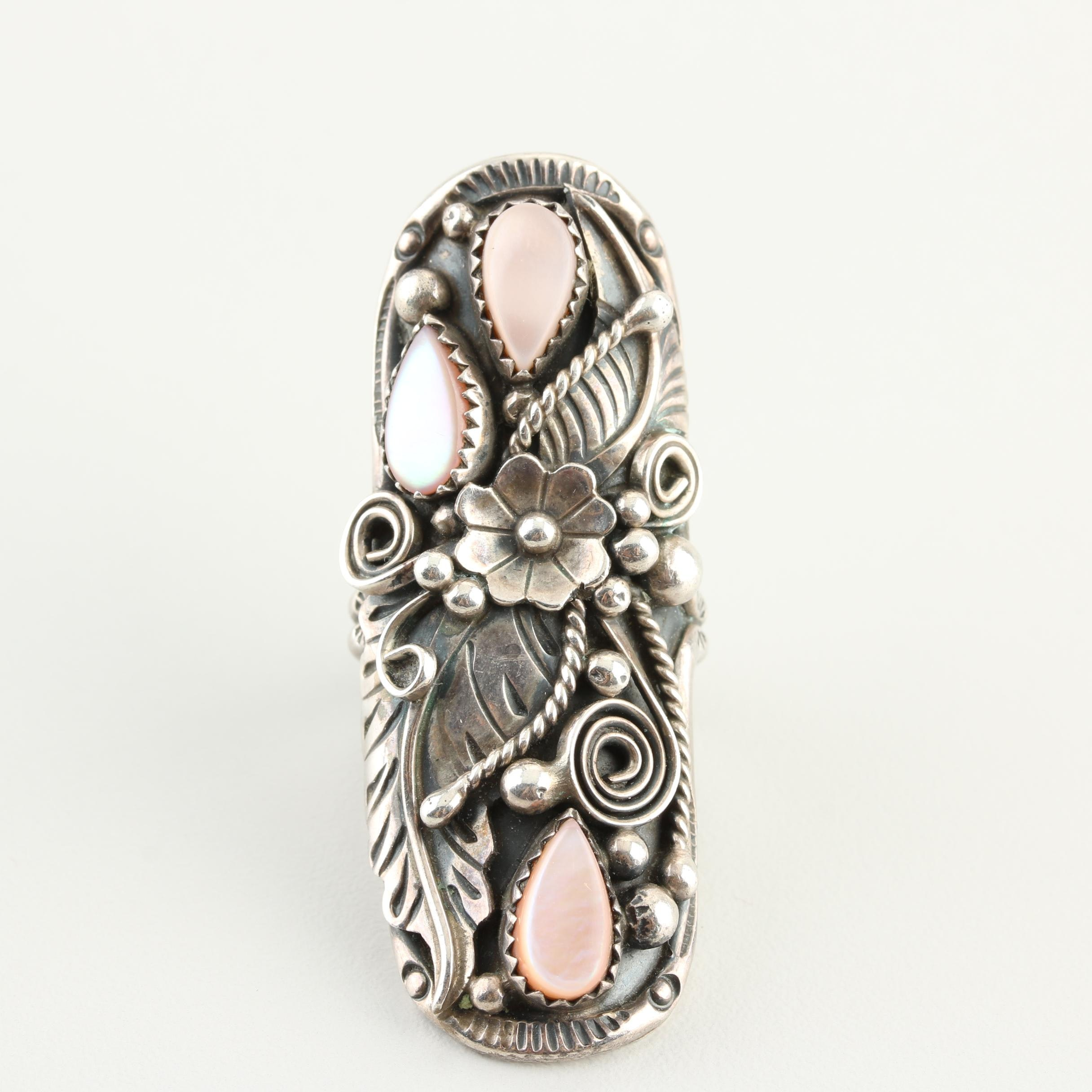 Southwestern Style Sterling Silver Mother of Pearl Ring