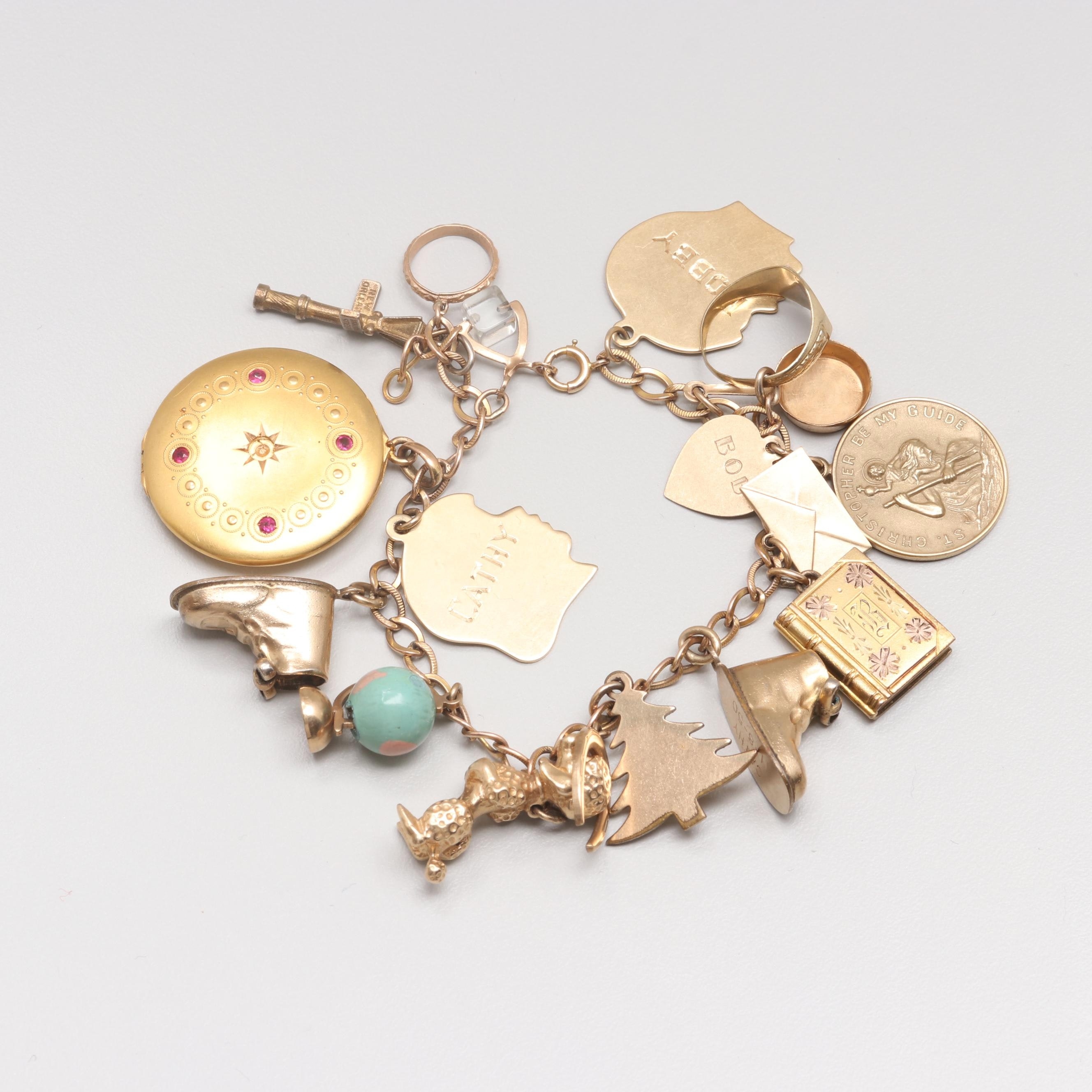 Vintage 10K, 14K, 18K, Yellow Gold and Sterling Silver Charm Bracelet