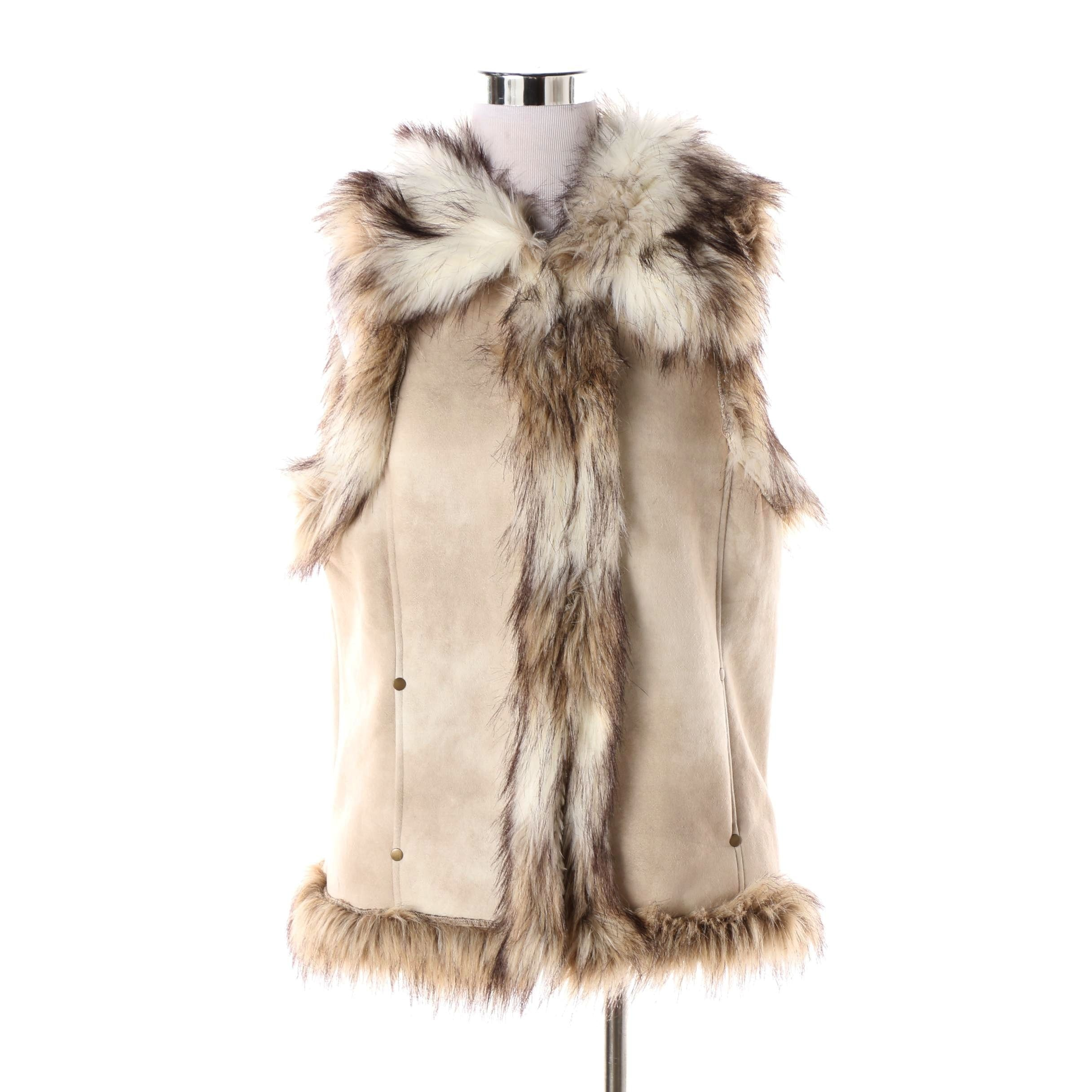 Women's Tasha Polizzi Collection Faux Suede Vest with Faux Fur Trim