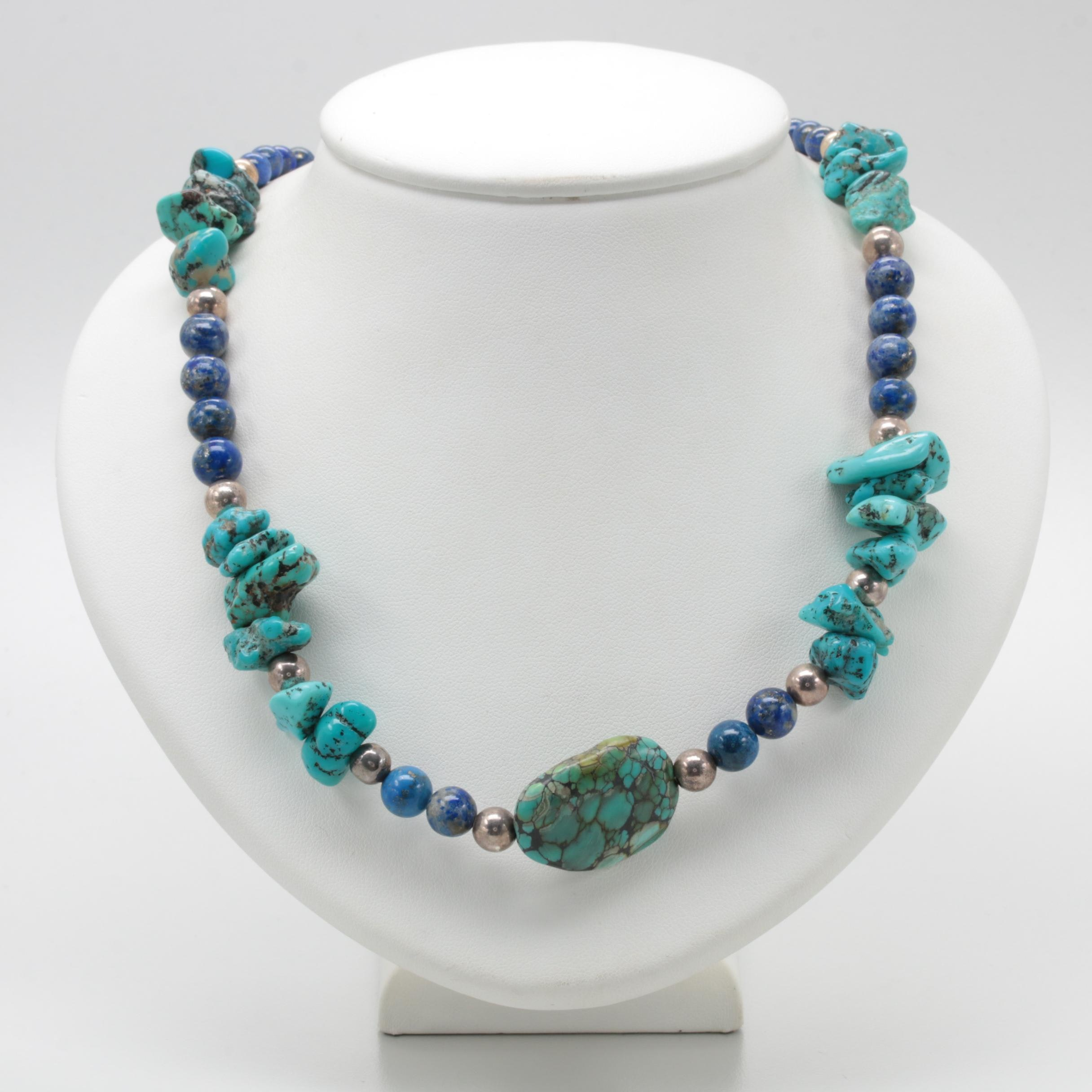 Southwestern Style Sterling Silver Turquoise and Lapis Lazuli Beaded Necklace