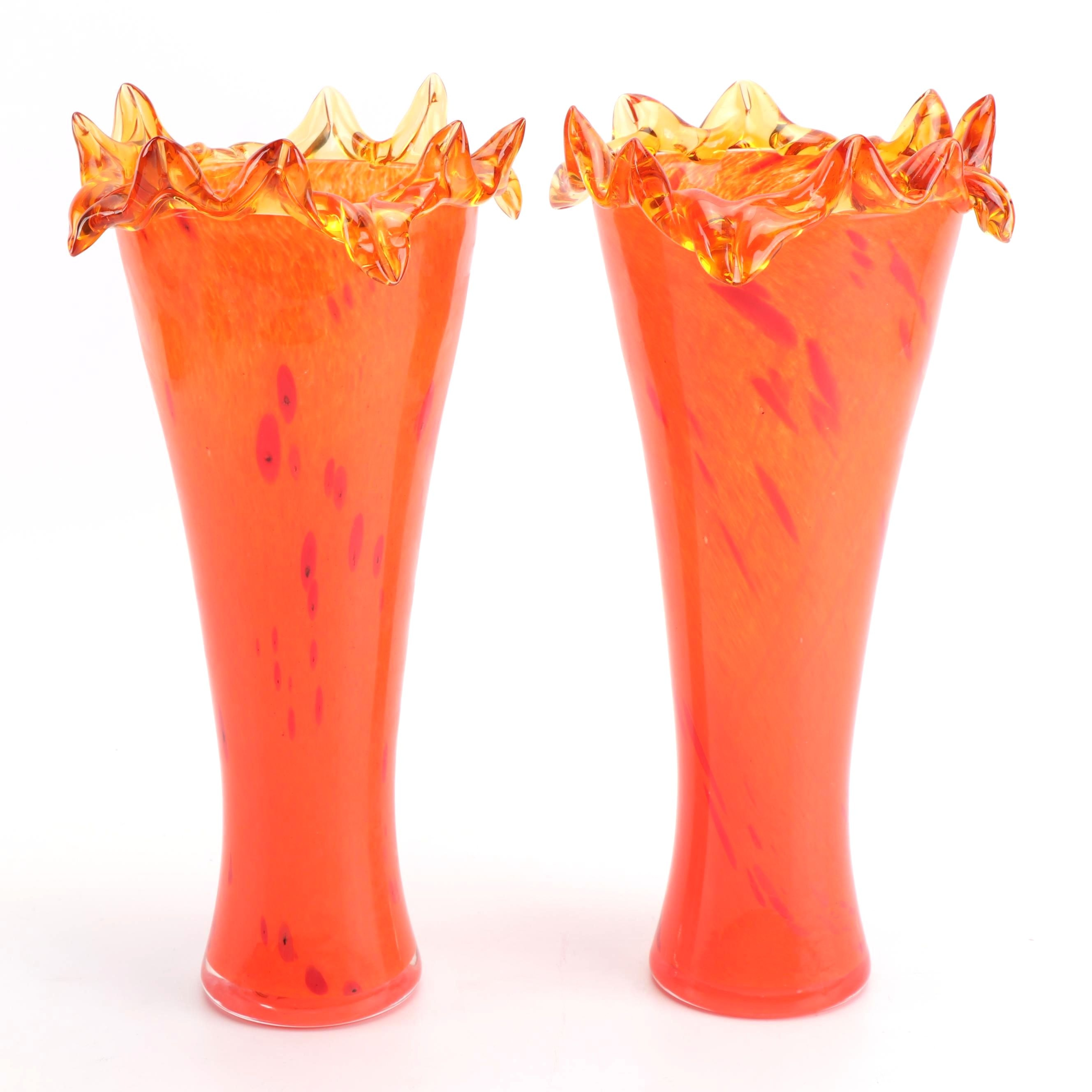 Crystal Home Collection Orange Blown Glass Vases