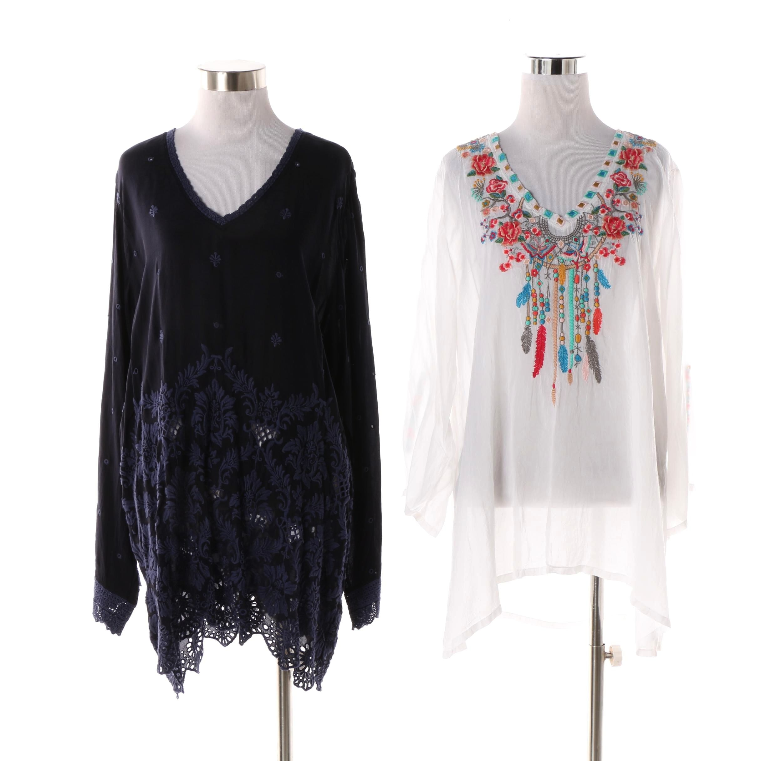 Johnny Was Embroidered Tunic Blouses