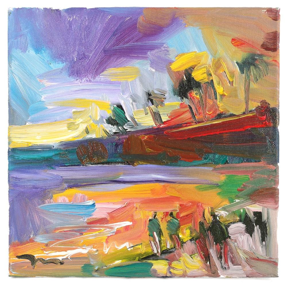 """Jose Trujillo Oil Painting """"Sunset Beach"""""""