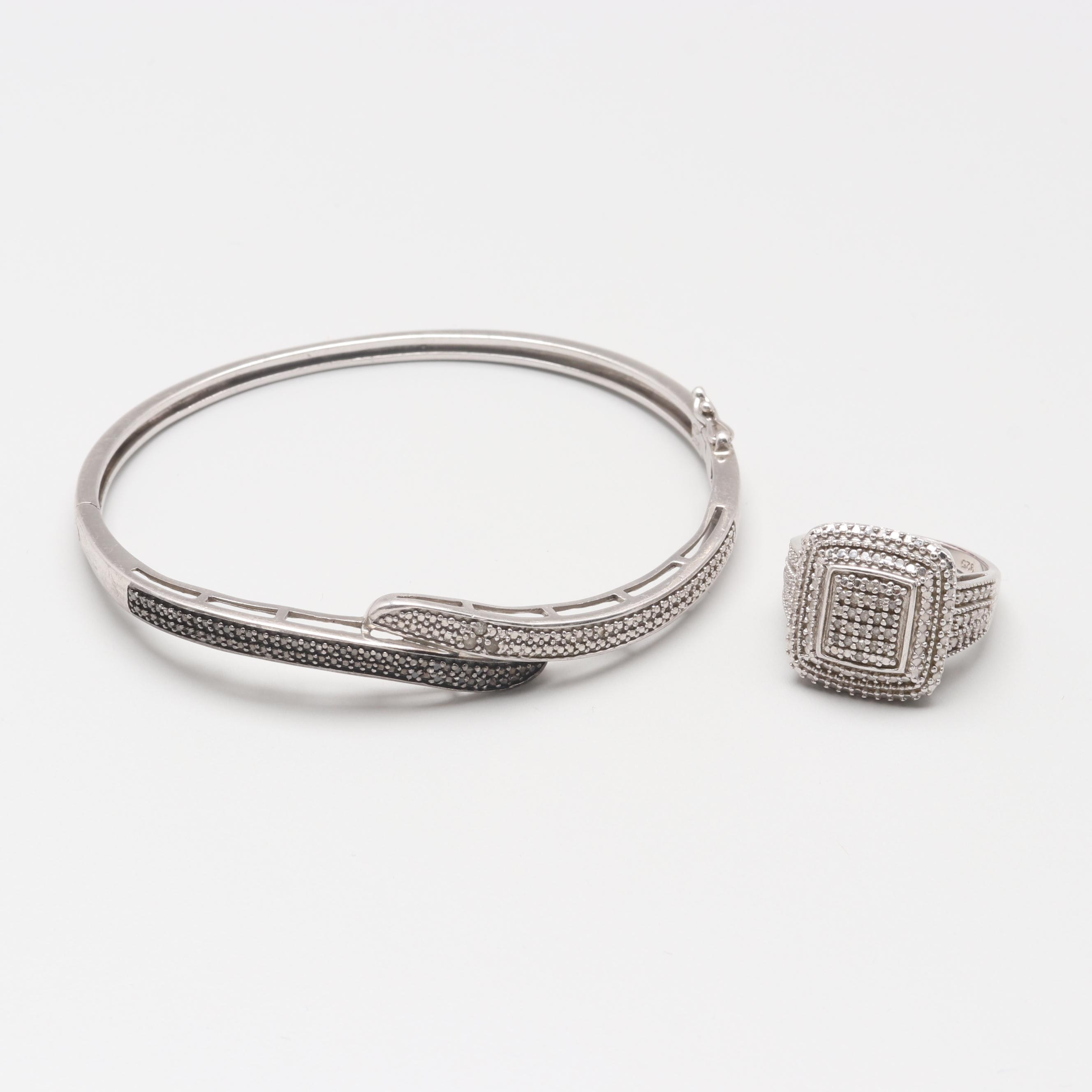 Sterling Silver Bangle Bracelet and Ring with Diamonds
