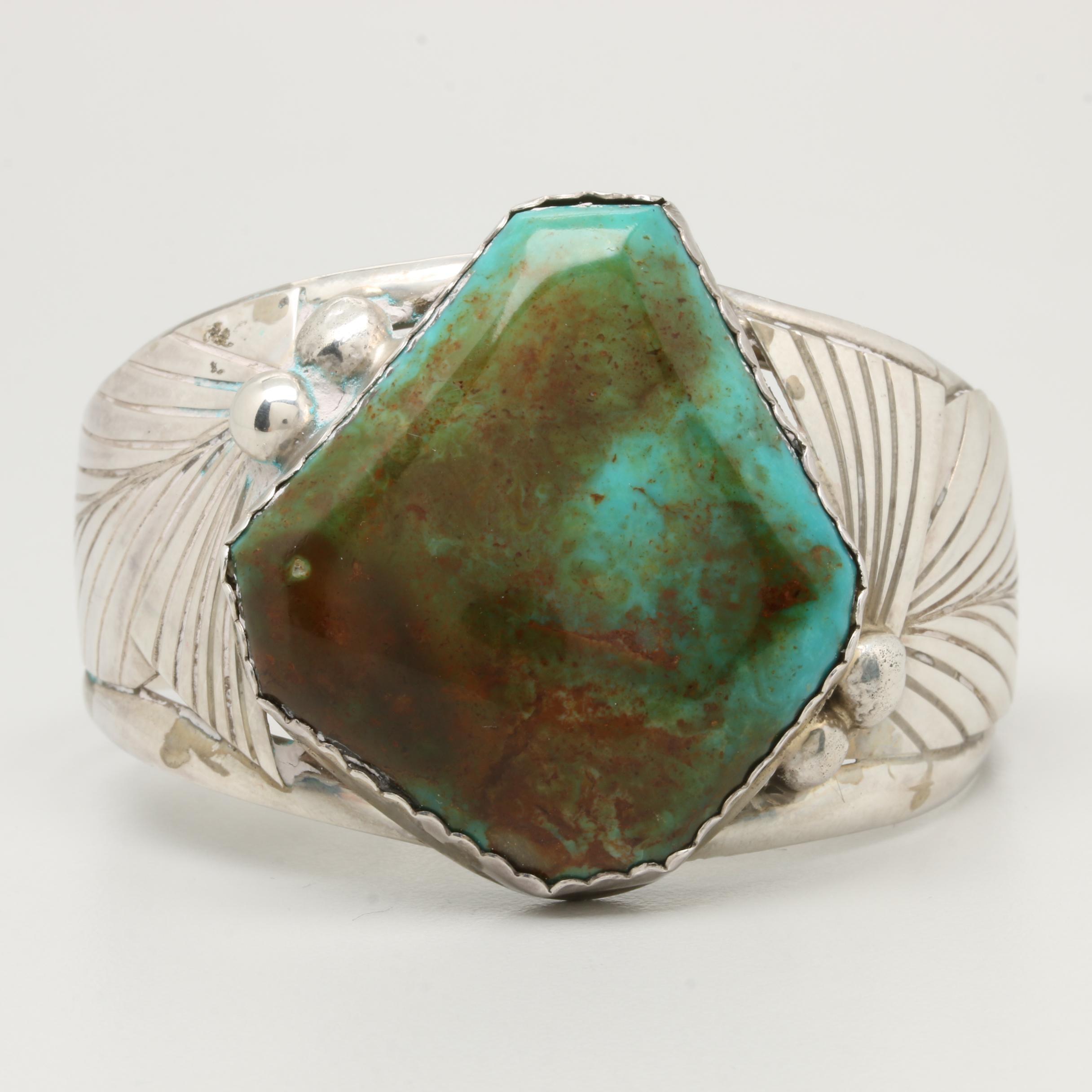 Roy Buck Navajo Diné Sterling Silver Turquoise Cuff Bracelet