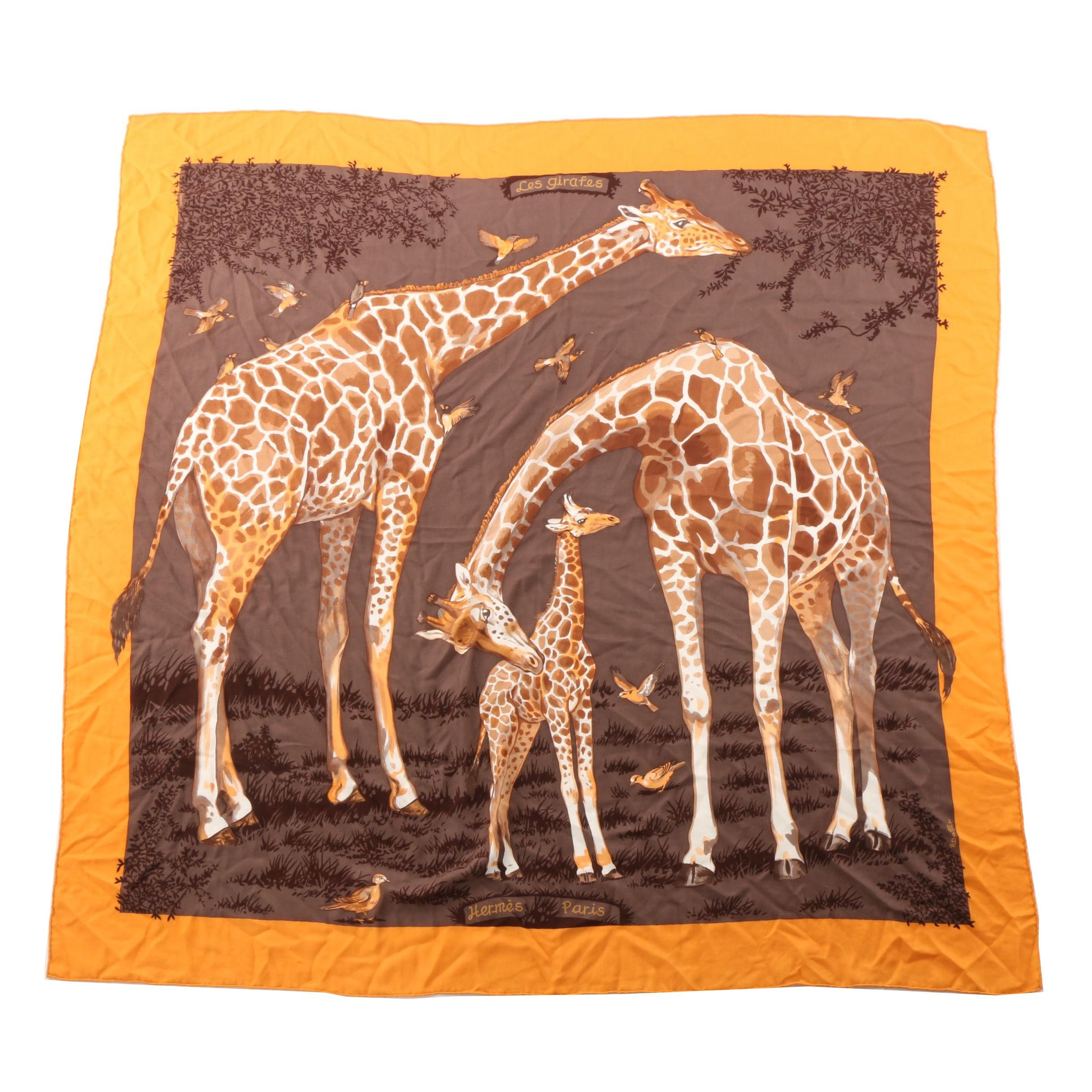 "Hermès of Paris ""Les Girafes"" Cashmere and Silk Twill Scarf"