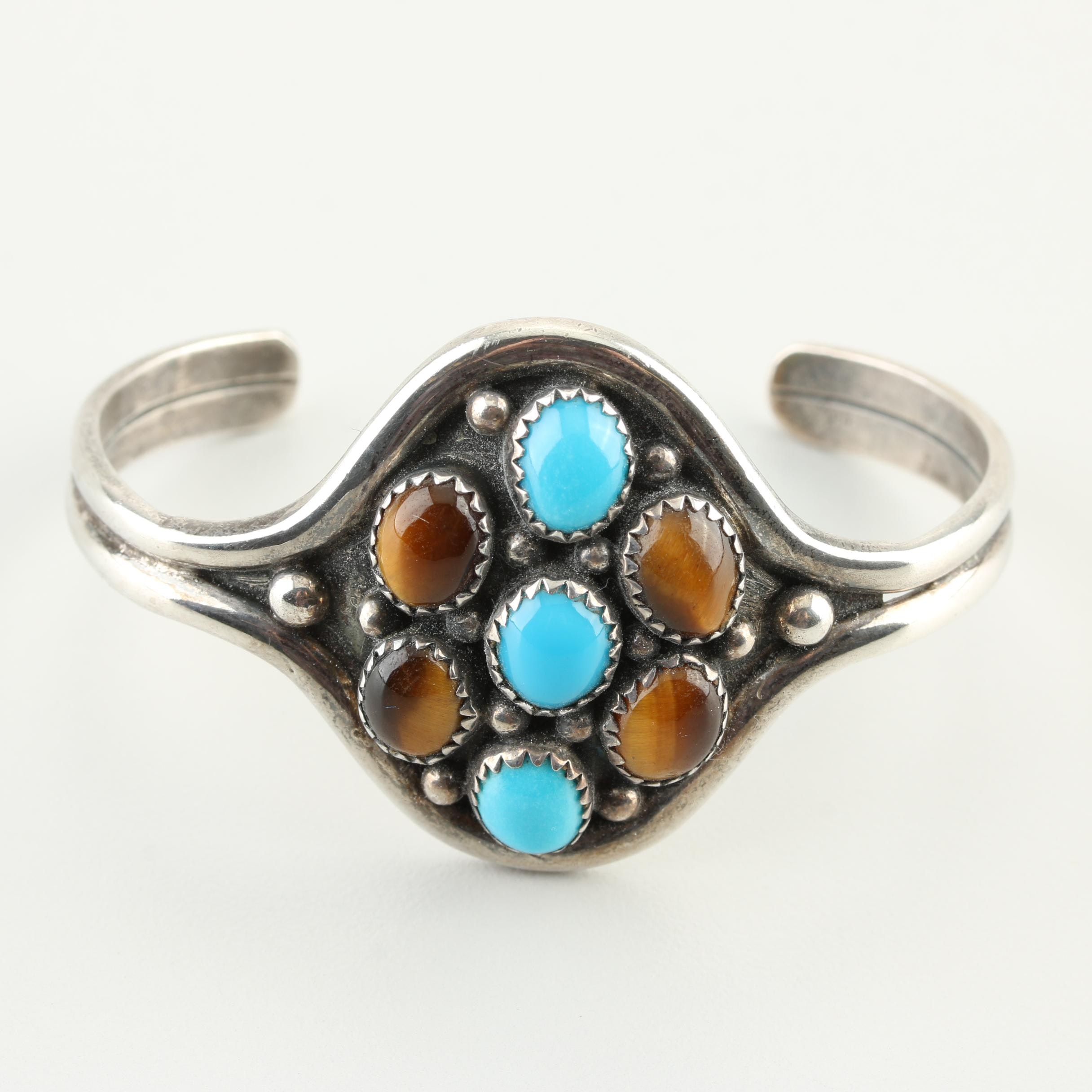 Sterling Silver Turquoise and Tiger's Eye Cuff Bracelet