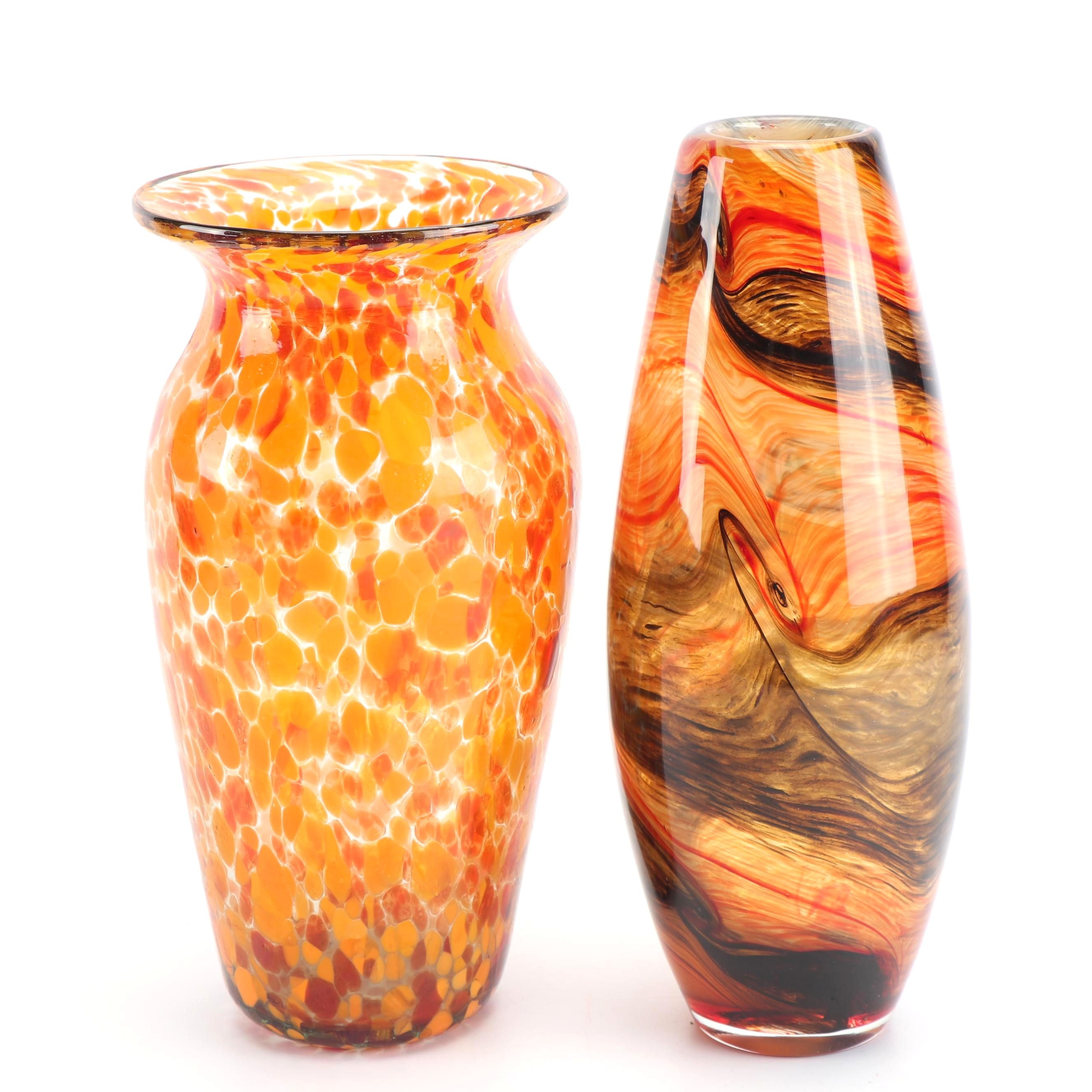 Mexican Pomeroy and Swirling Polychromatic Blown Glass Vases