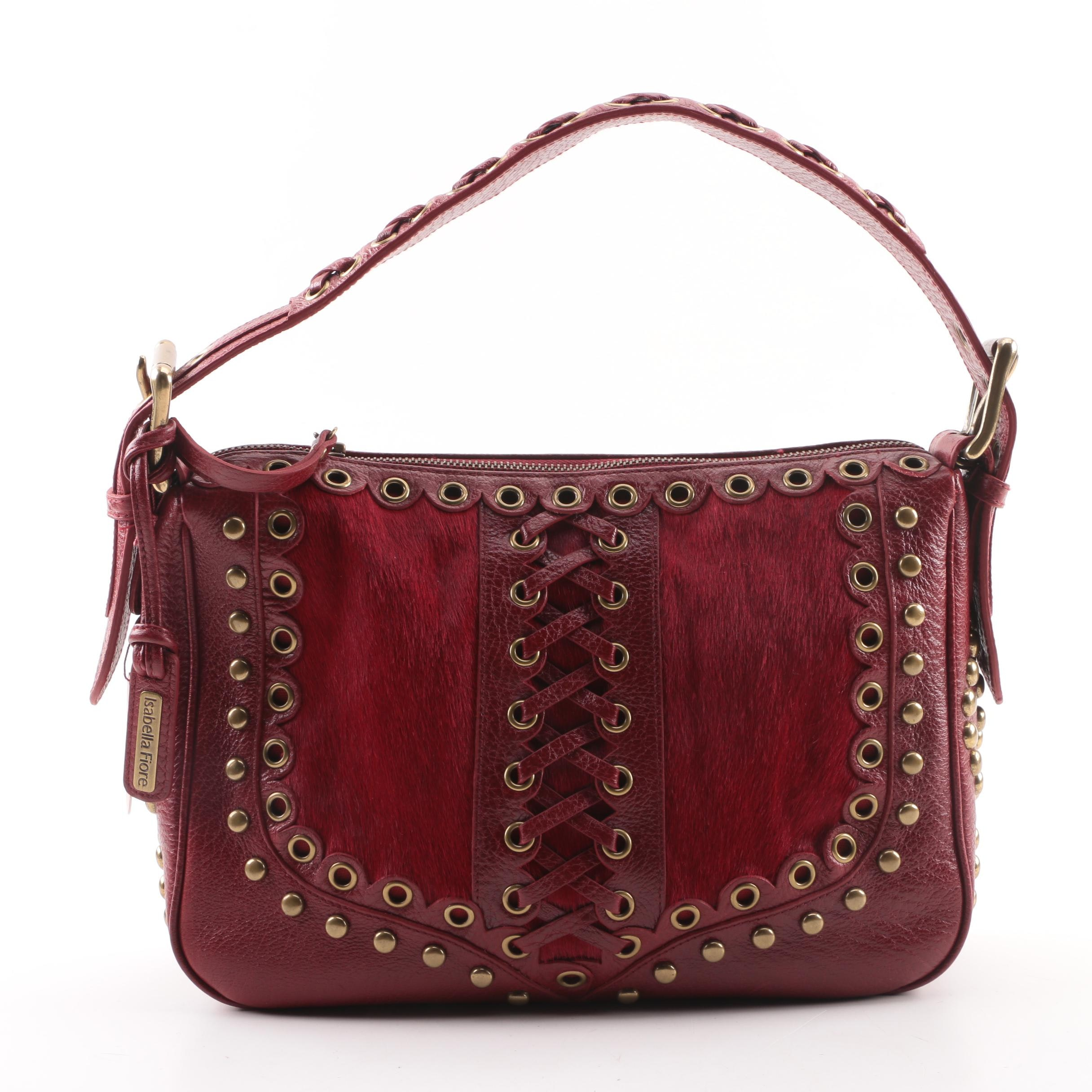 Isabella Fiore Maroon Leather and Pony Hair Shoulder Bag