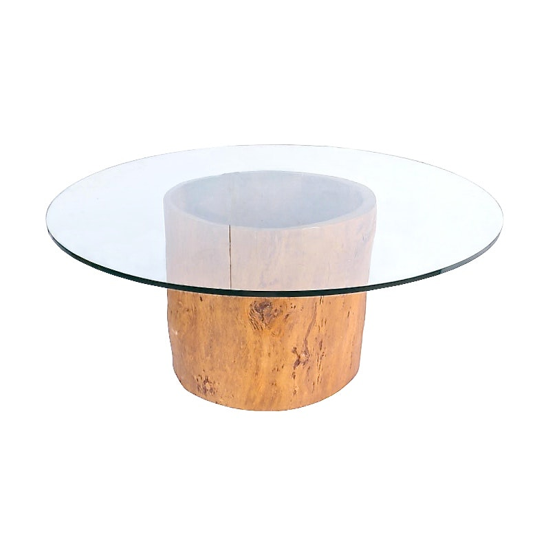 Custom Round Dining Table with Hollow Tree Trunk Barrel of Prohibition Interest
