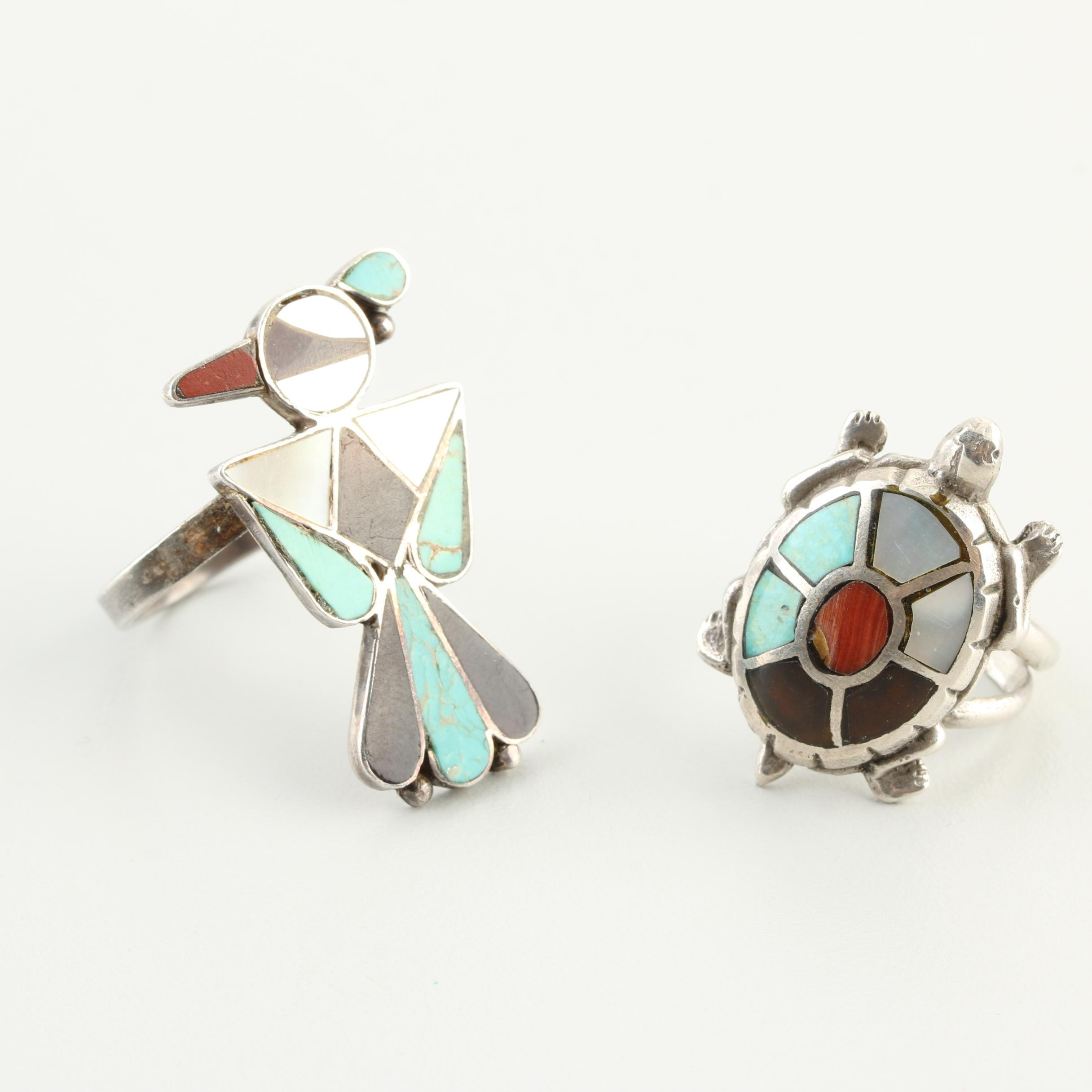 Southwestern Style Sterling Silver Gemstone Inlay Rings