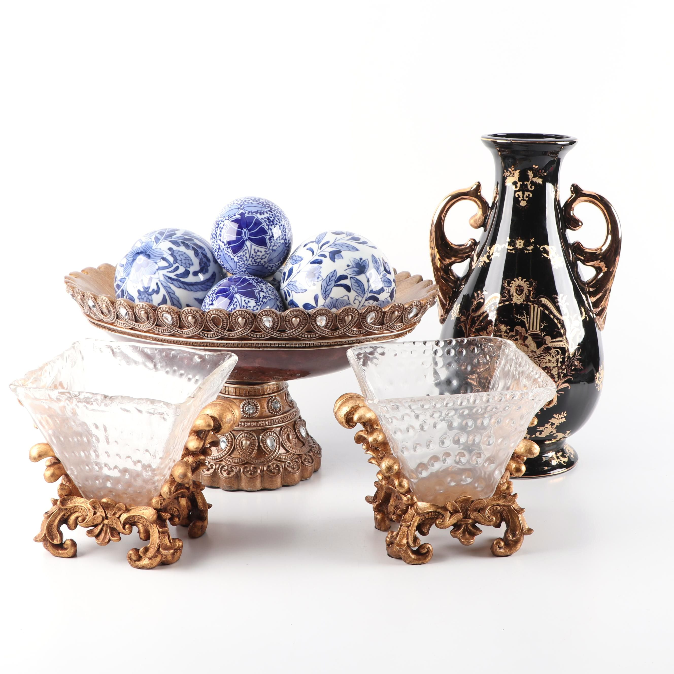 Console Bowls, Vase, and Decorative Orbs