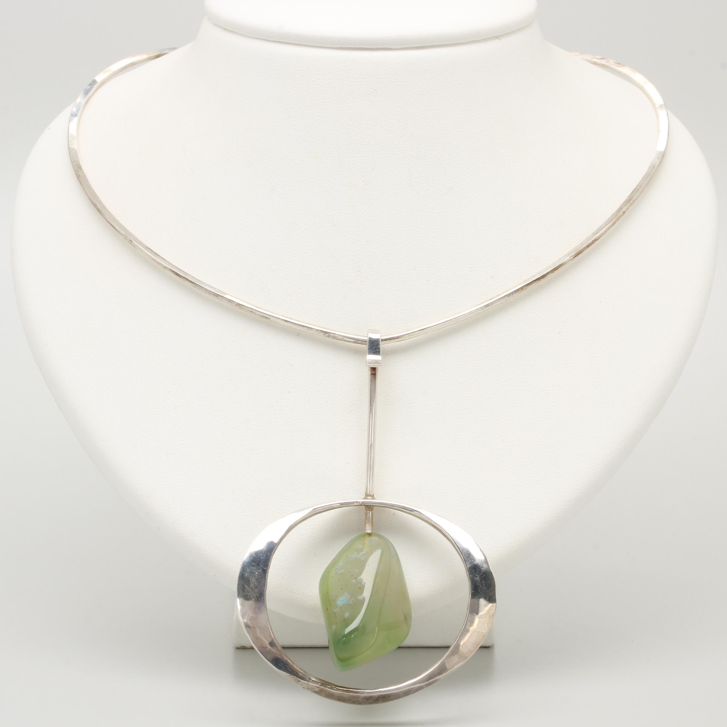 Norwegian Modernist Tone Vigeland Sterling Silver Agate Necklace