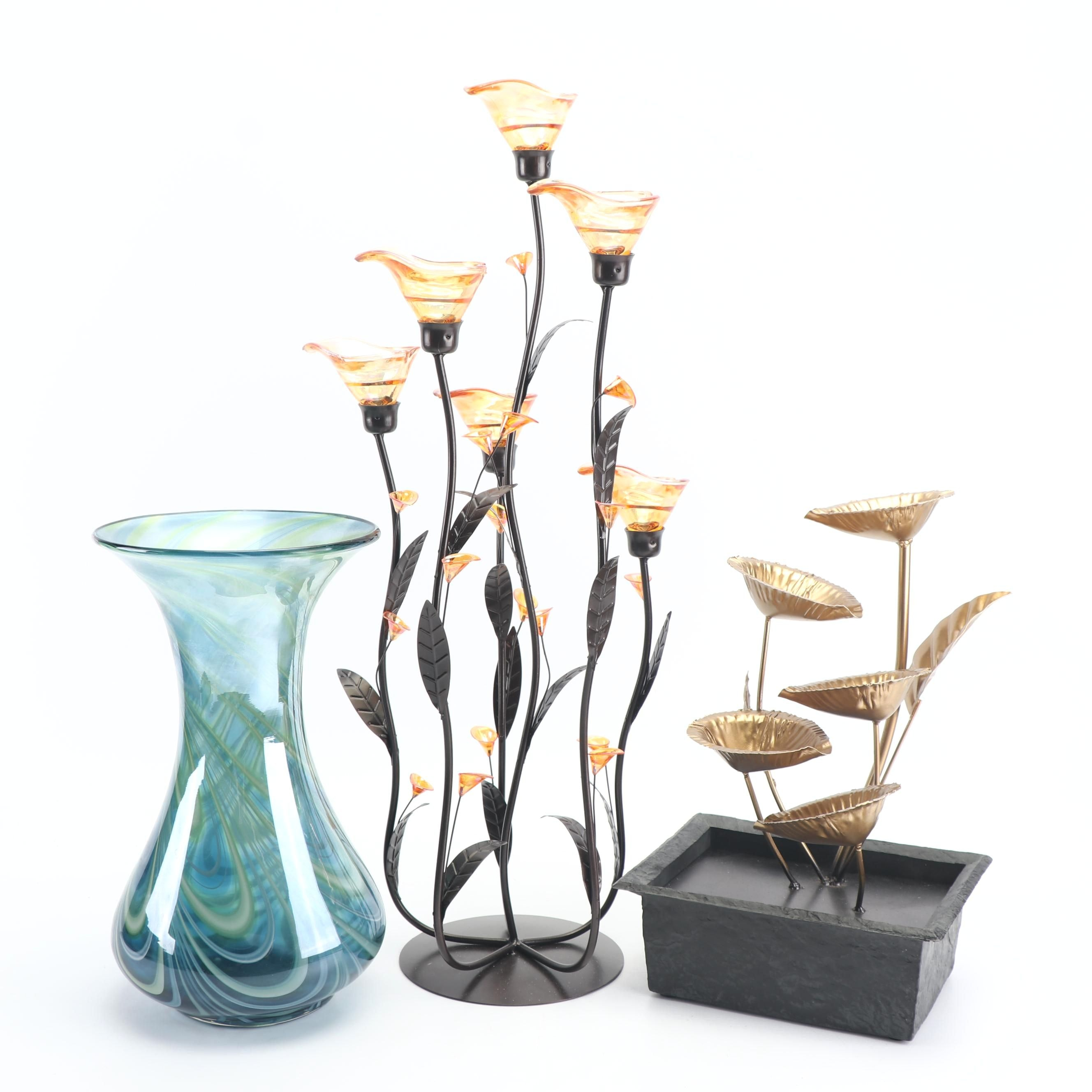 Swirled Art Glass Vase with Candle Holder and Indoor Fountain
