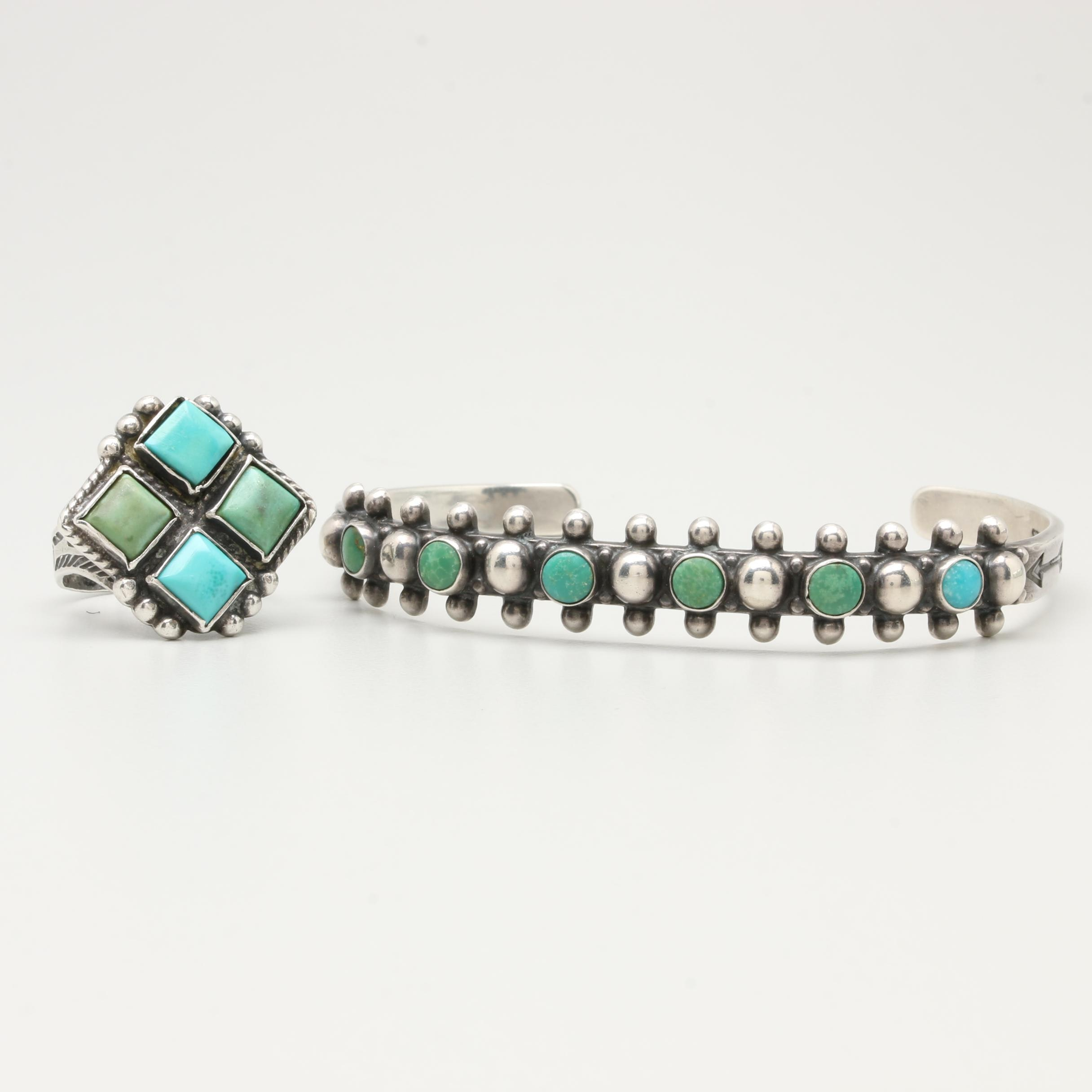 Southwestern Style 900 and Sterling Silver Turquoise Jewelry Selection