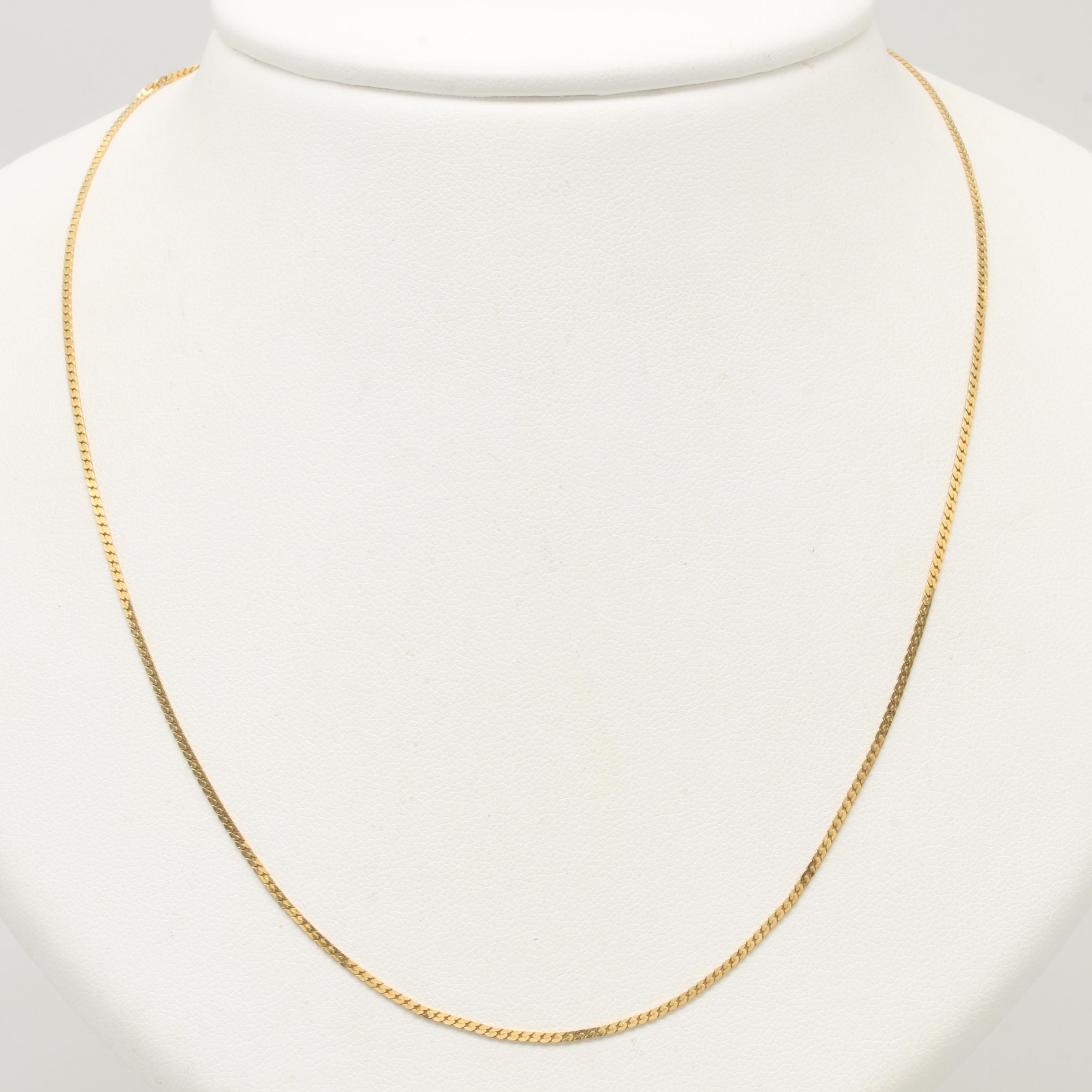 18K Yellow Gold Curb Link Necklace
