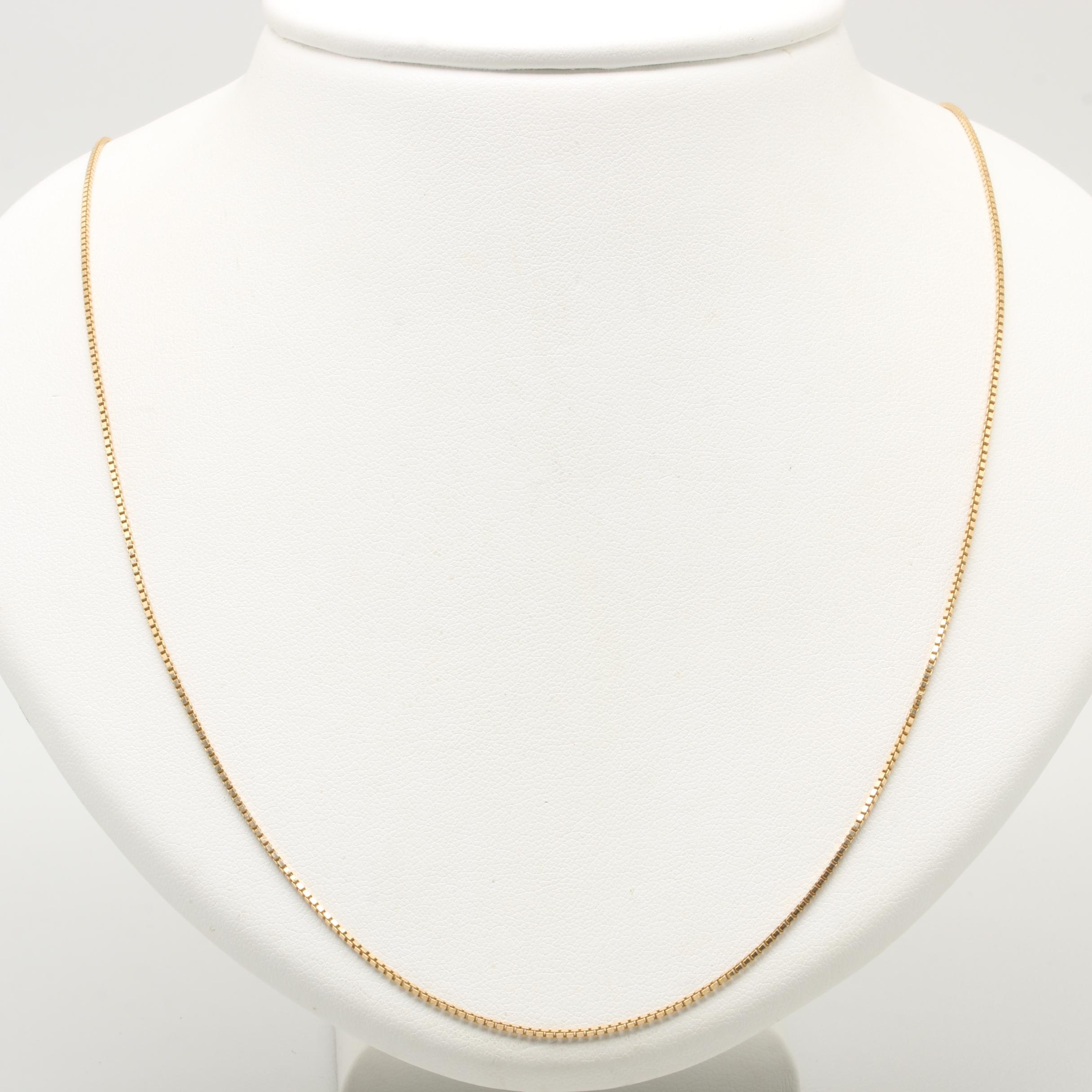 18K Yellow Gold Box Link Necklace