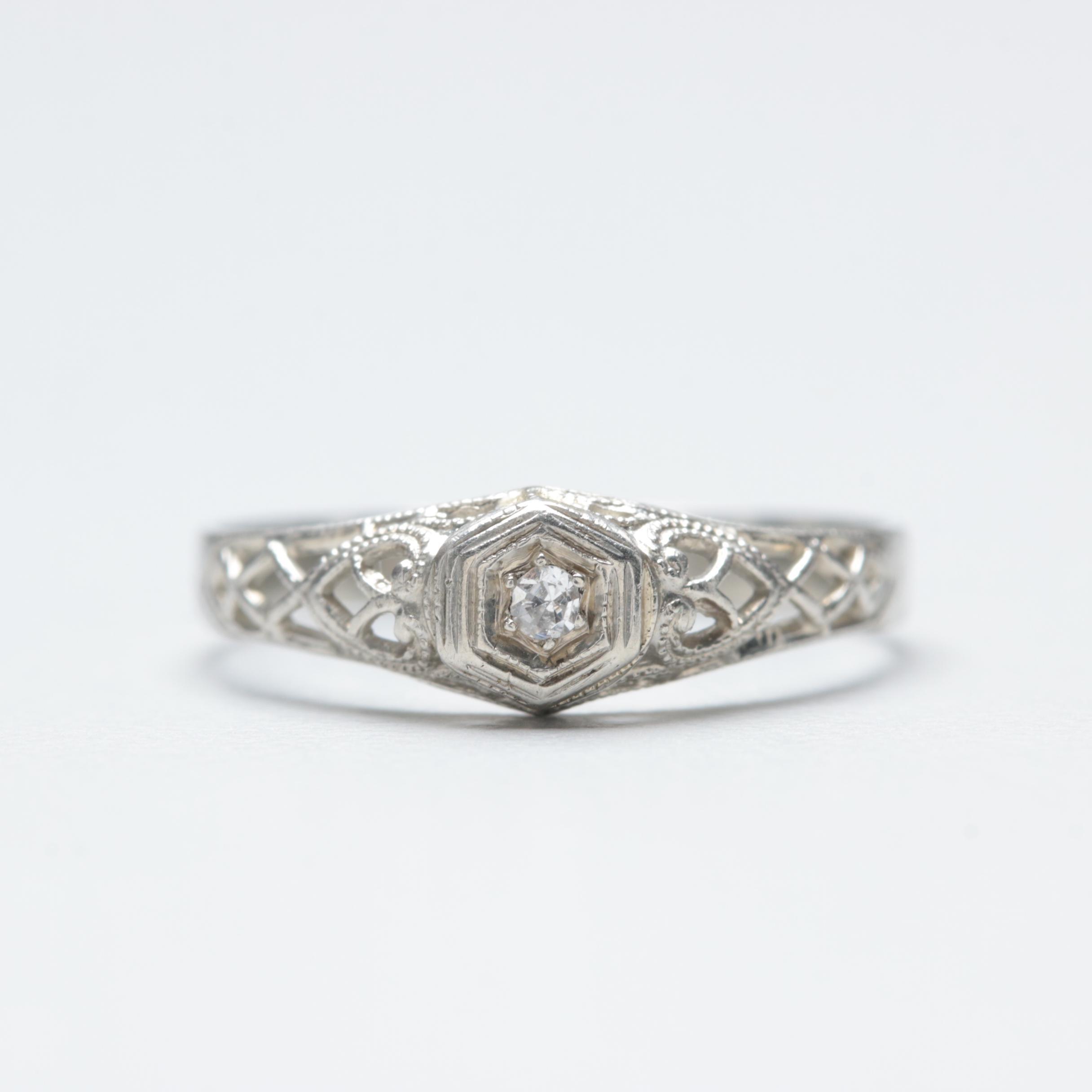 18K White Gold Diamond Solitaire Openwork Ring