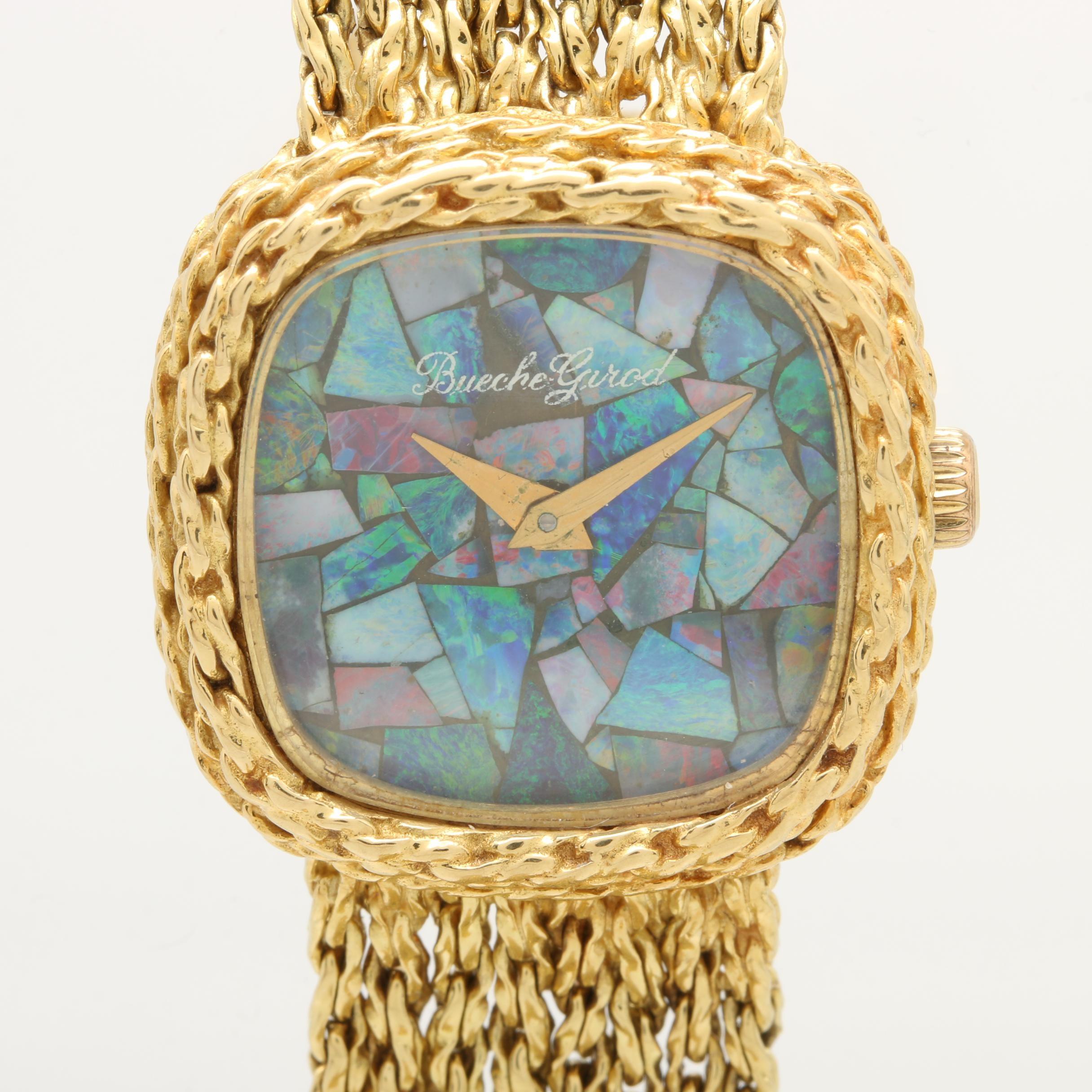 Bueche-Girod 18K Yellow Gold Opal Wristwatch
