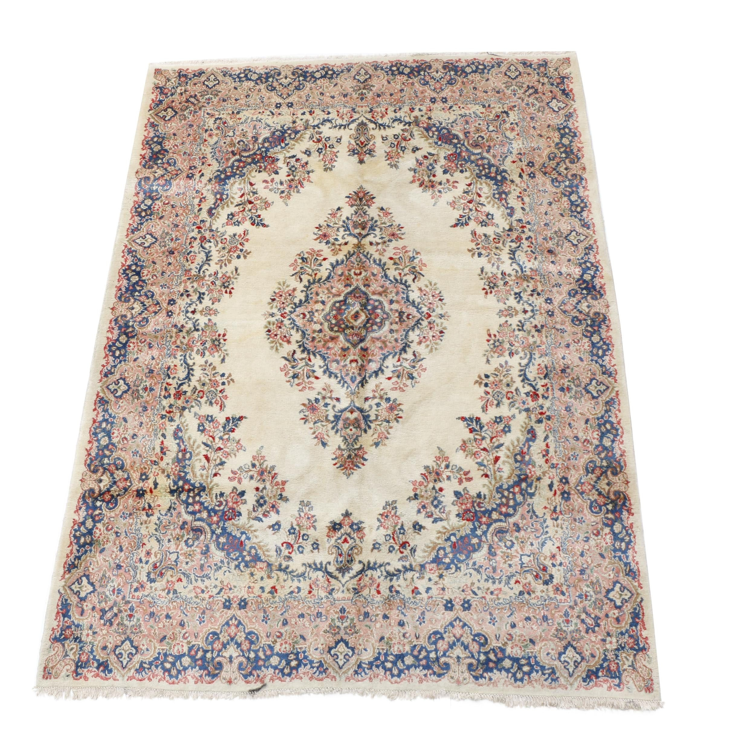 Hand-Knotted Persian Kerman Room-Size Rug