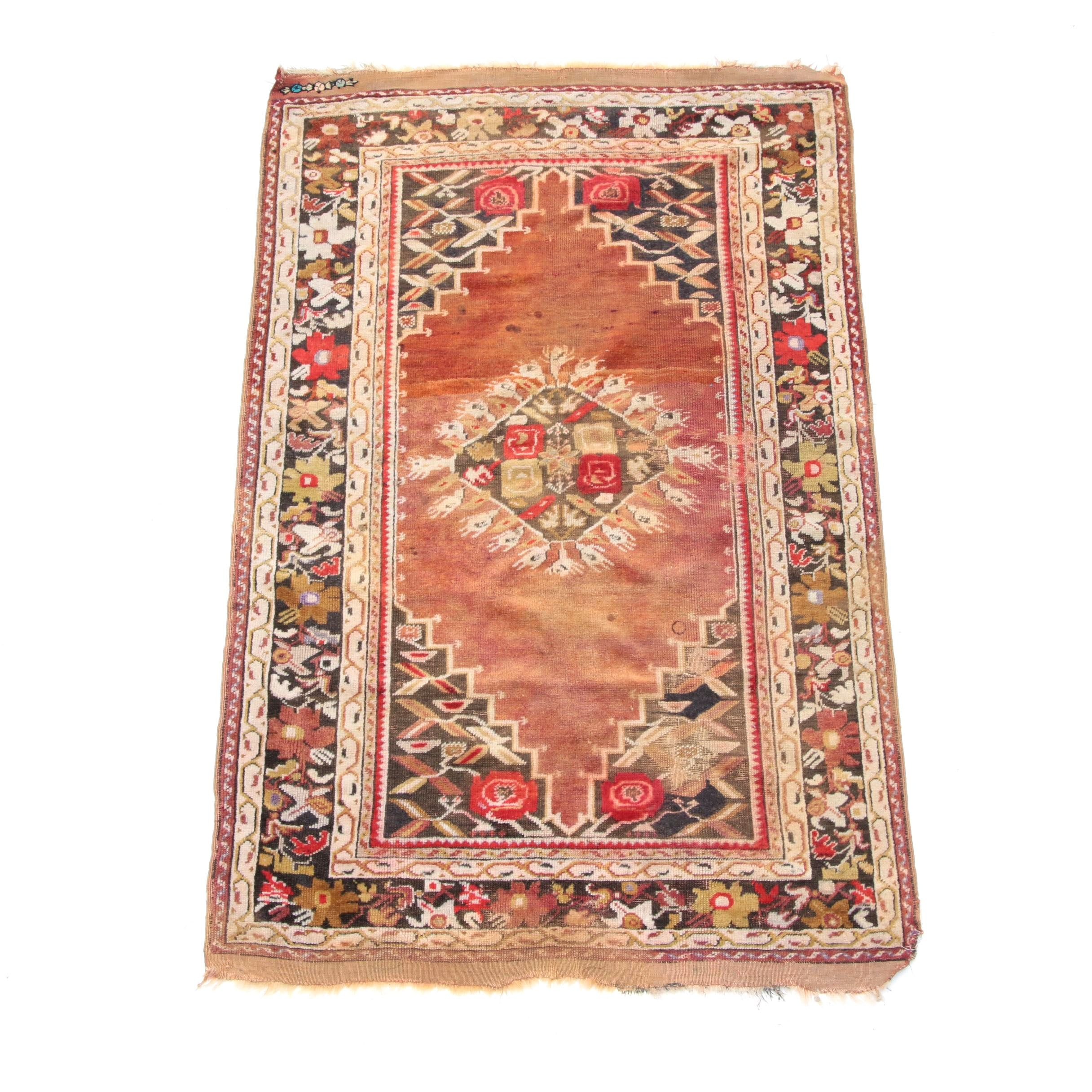 Vintage Hand-Knotted and Embroidered Anatolian Area Rug