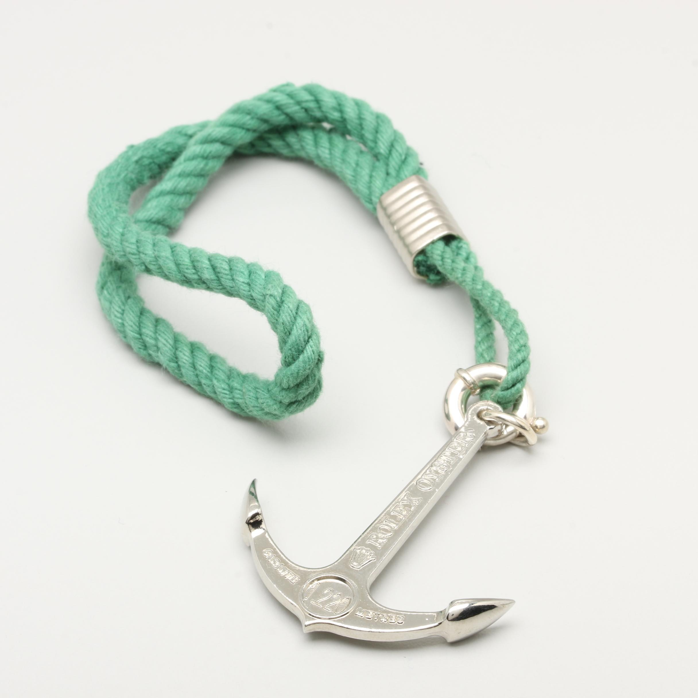 Rolex Oyster Sterling Silver Anchor Charm Accessory on Green Rope